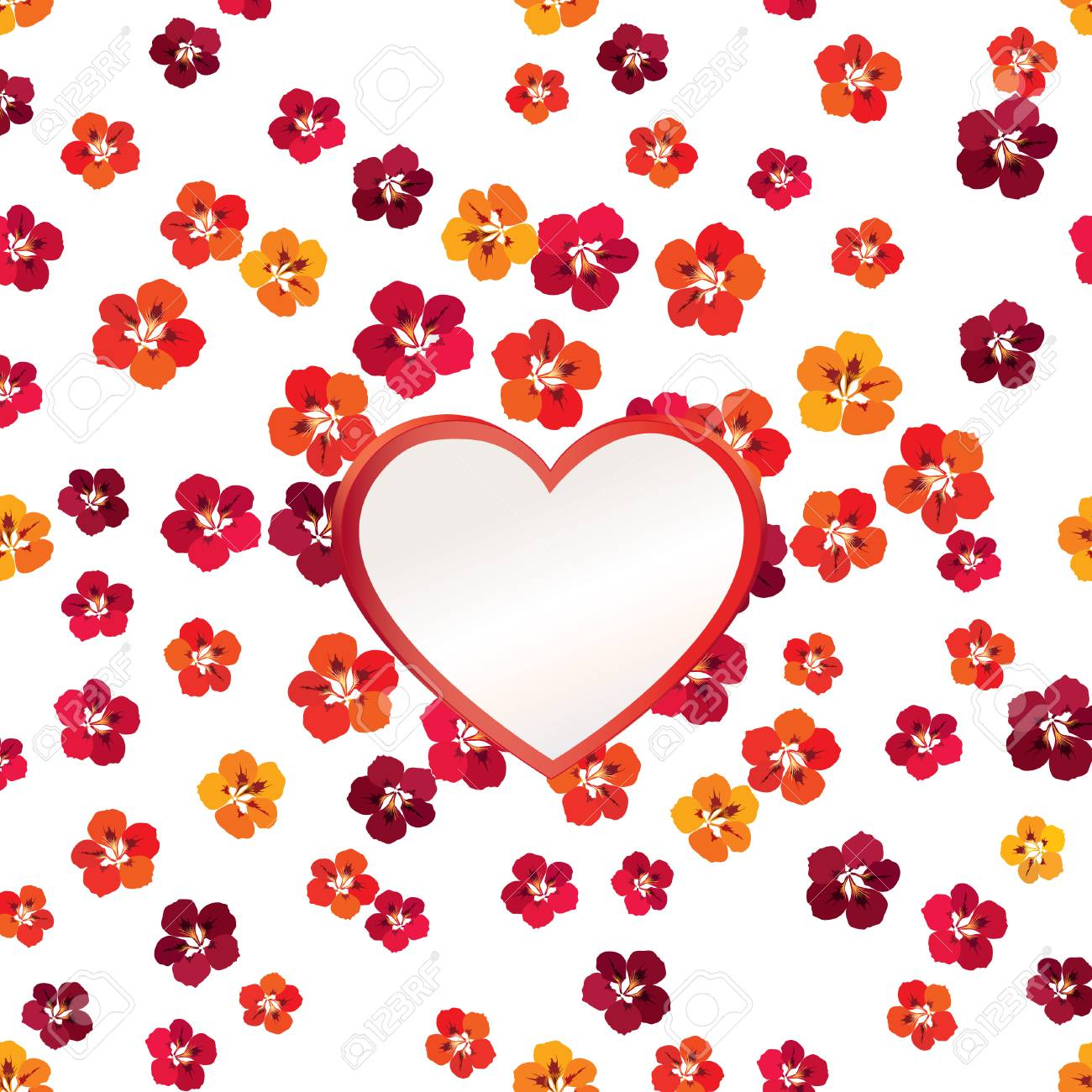 Valentines Day Floral Greeting Card. Flower Frame With Love Heart ...