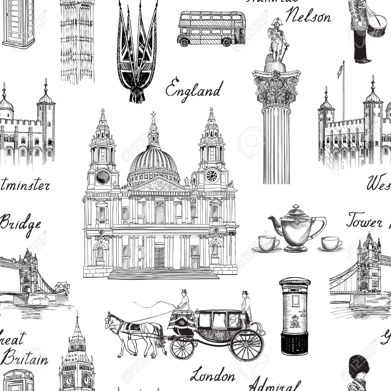 London landmark seamless pattern. Doodle travel Europe sketchy lettering. Famous architectural monuments and symbols. England vintage icons vector textured background - 51738232