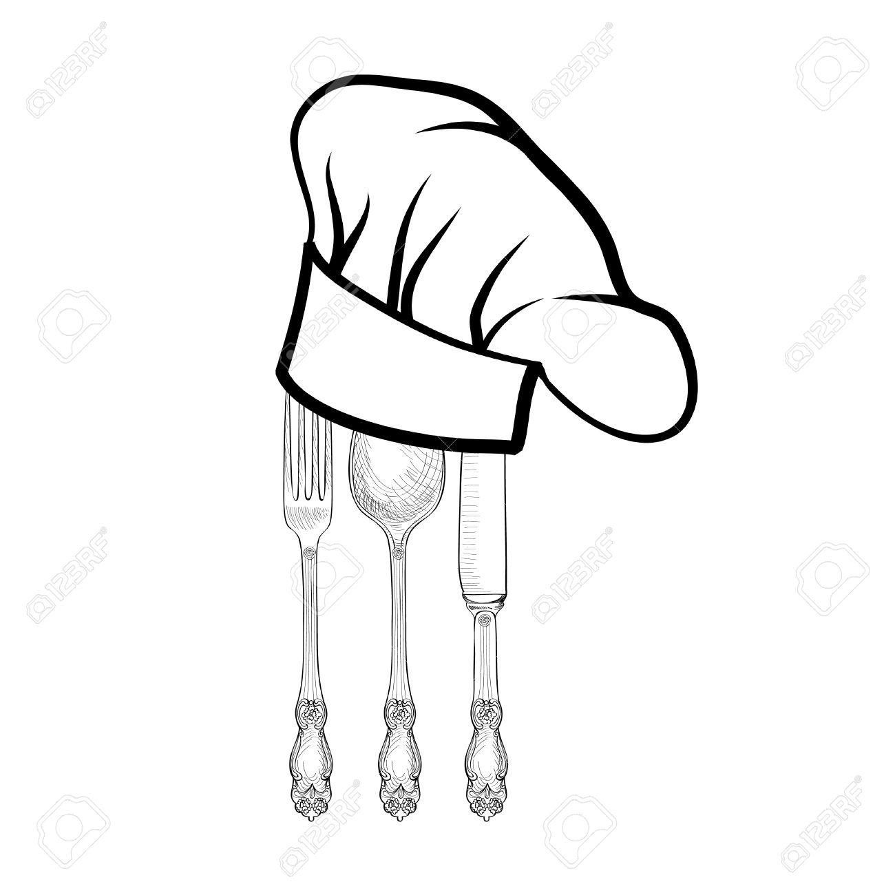 Chef Cuisinier Chapeau Avec Une Fourchette Cuillère Et Couteau Dessin étiquette Croquis Main Couverts Icône Vector Restauration Et Service De