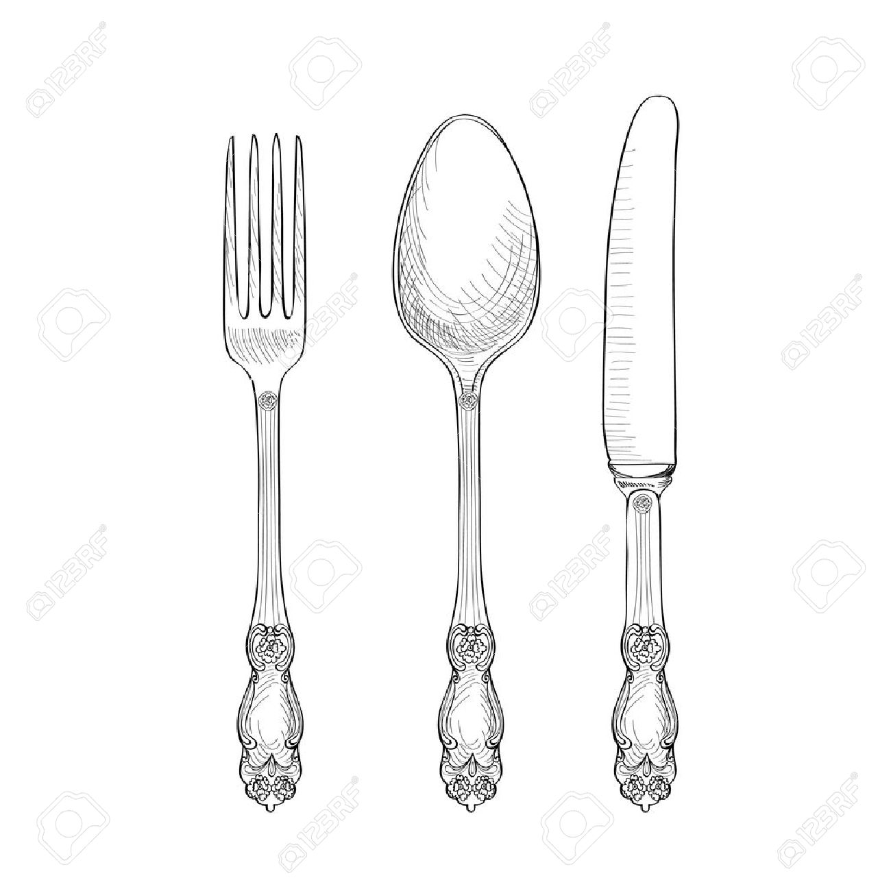 Fork, Knife, Spoon sketch set. Cutlery hand drawing collection. Catering engraved vector illustration. Restraunt  symbol Stock Vector - 53120321