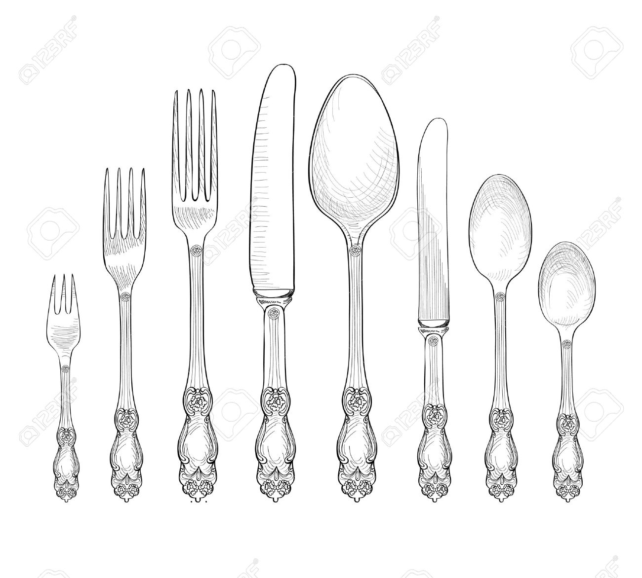 Table setting set. Fork, Knife, Spoon sketch set. Cutlery hand drawing collection. Catering engraved vector illustration. Restraunt service. Banquet still life - 53120324
