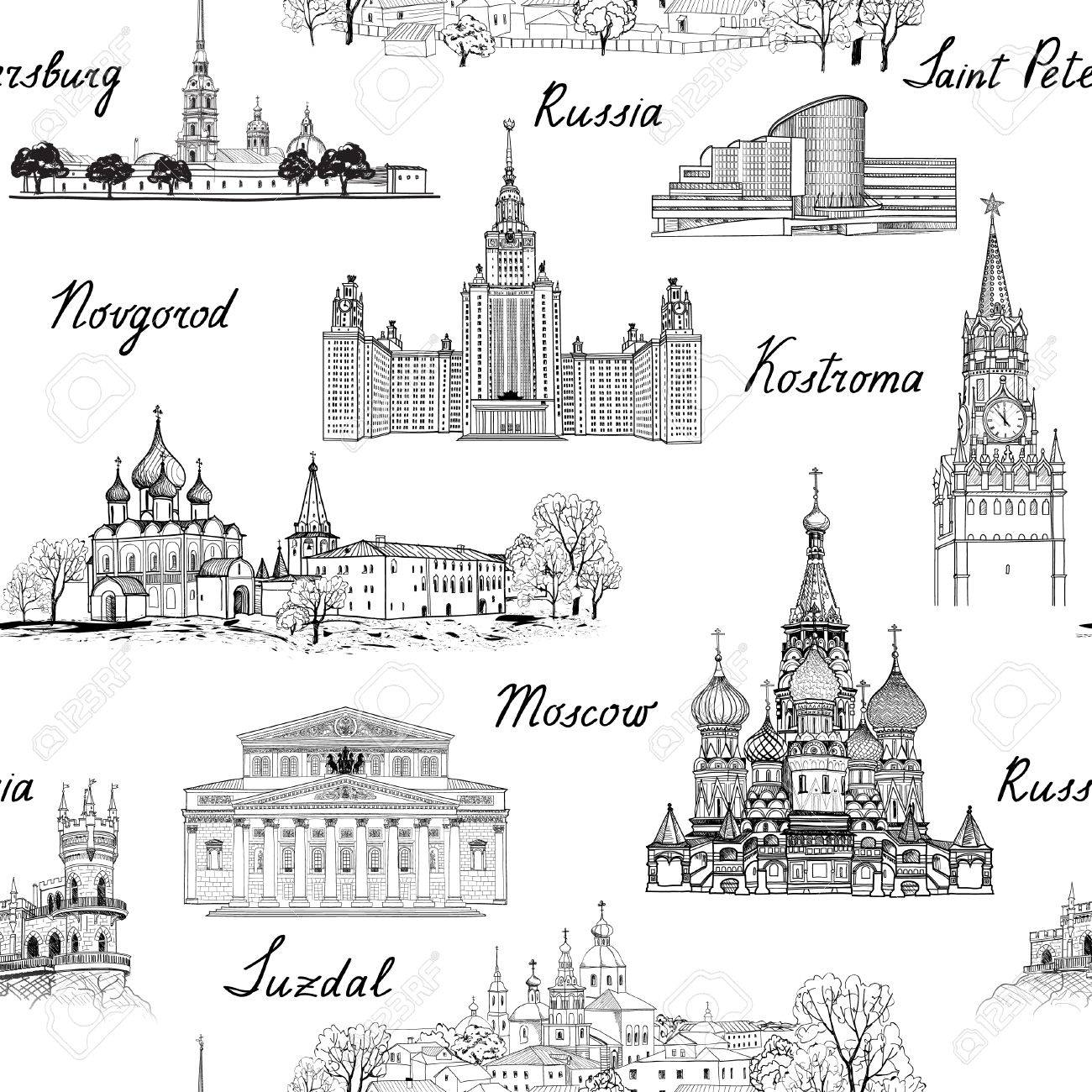 Travel Russia seamless engraved architectural pattern. Famous Russian cities and monuments. Landmarks of Moscow, Saint Petersburg, Suzdal, Kolomna and other russian cities. Travel background. - 53120403