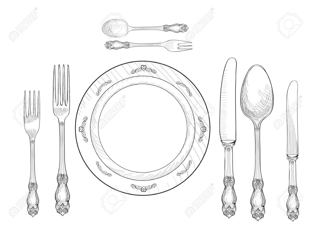 Table setting set. Fork Knife Spoon plate sketch set. Cutlery hand  sc 1 st  123RF.com & Table Setting Set. Fork Knife Spoon Plate Sketch Set. Cutlery ...