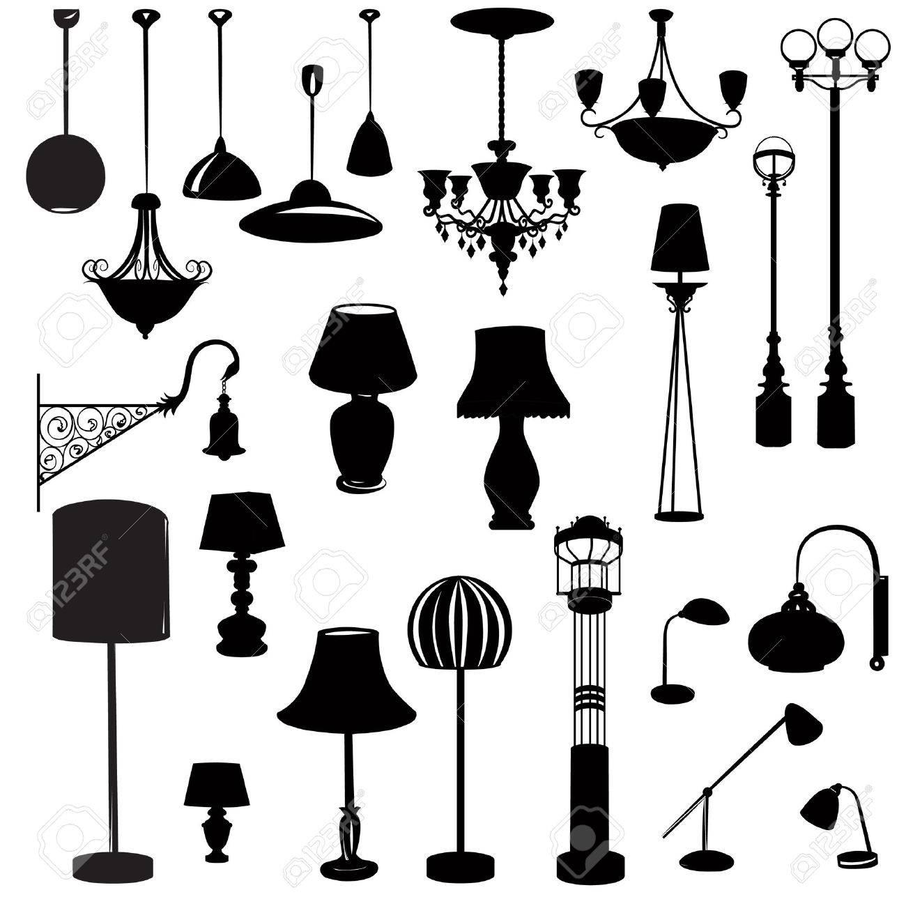 Interieur meubilair pictogrammen. plafondlamp icon set. silhouette ...
