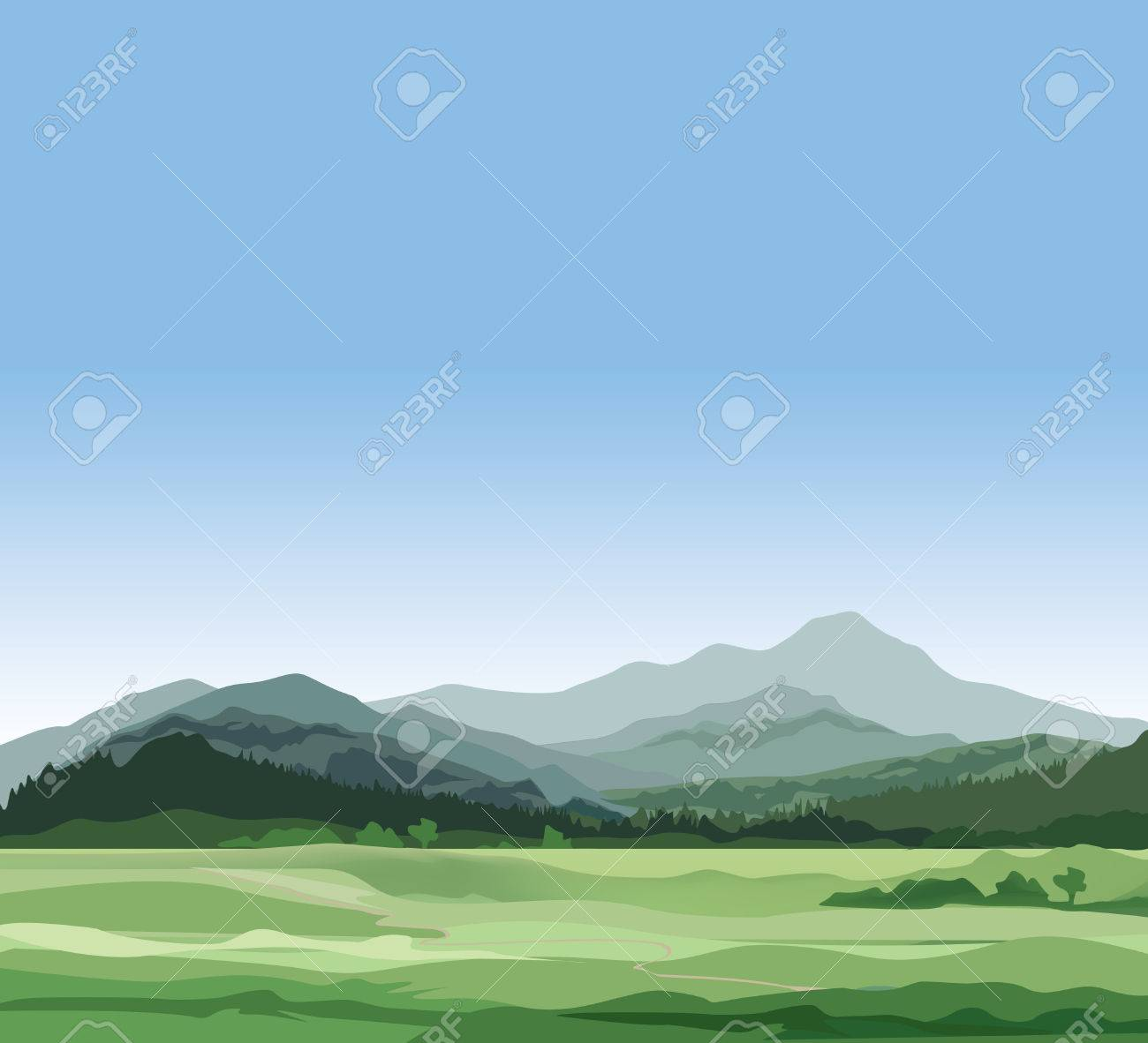 Rural landscape with mountains. Vector countryside view with forest, field and hills - 53120478