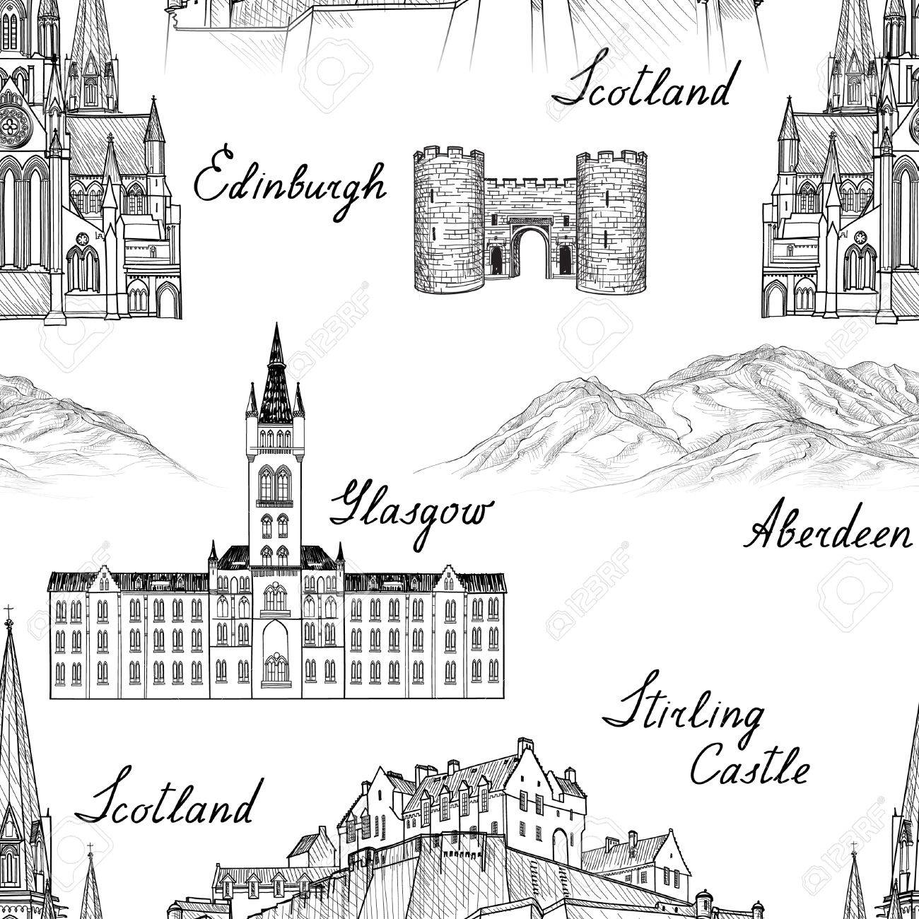 Travel Scotland famous cities landmark with handmade calligraphy. Edinburgh, Glasgow, Aberdeen city seamless pattern for your design. Architectural monuments and buildings engraved sketch UK textured background - 53120491