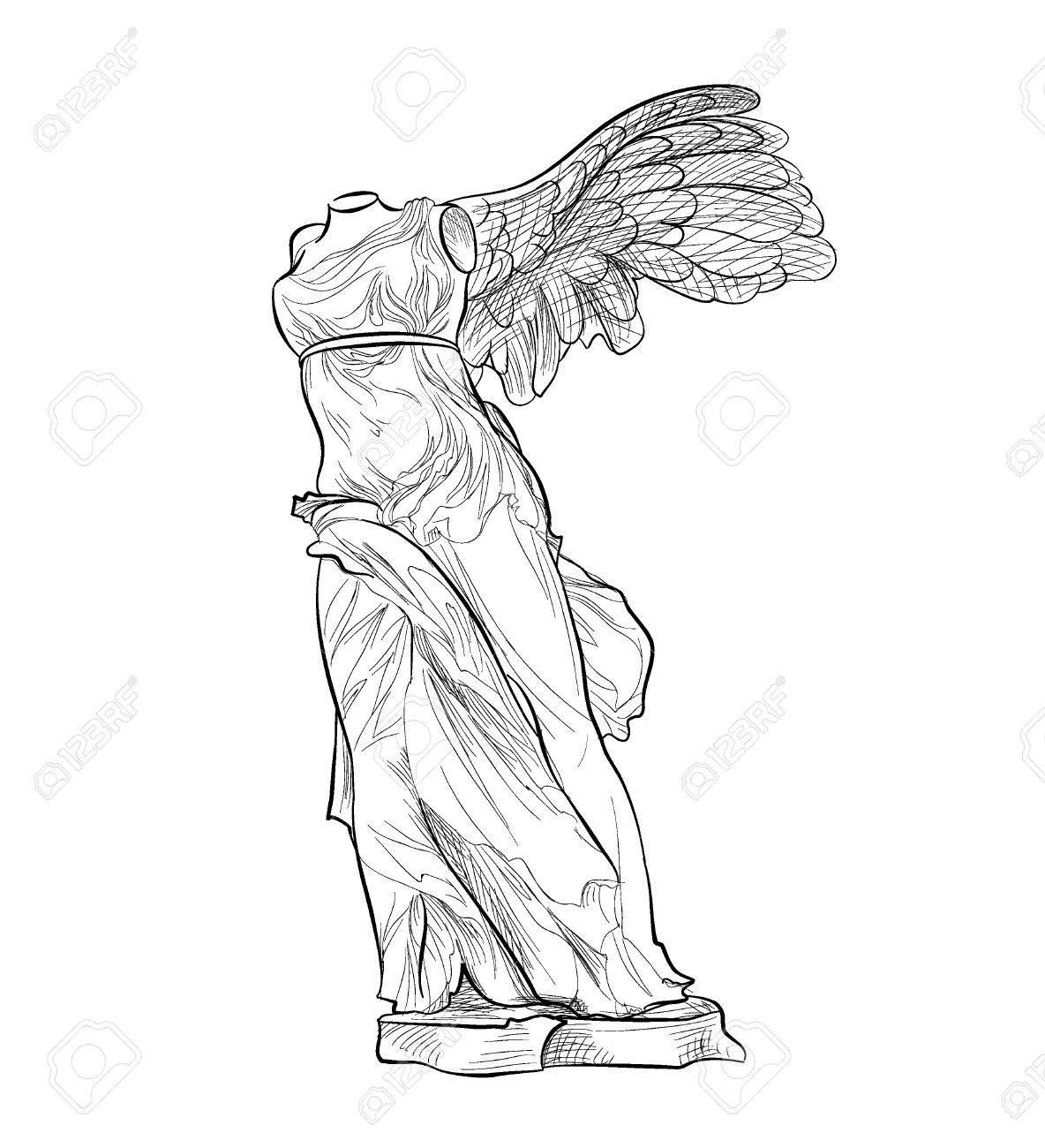 ギリシャの有名なナイキの彫像古代ギリシャのシンボルのイラスト素材