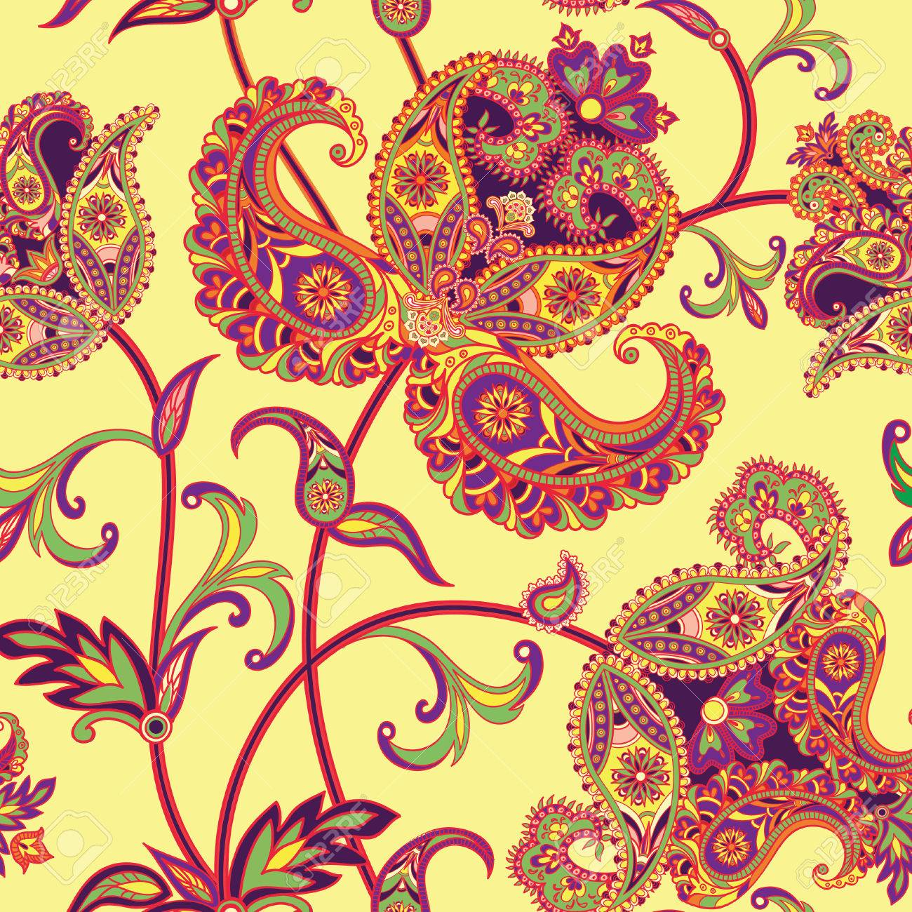 Flourish tiled pattern. Abstract floral geometric seamless oriental background. Fantastic flowers and leaves. Wonderland motives of the paintings of arabic mandala. Indian fabric pattern. - 54853504