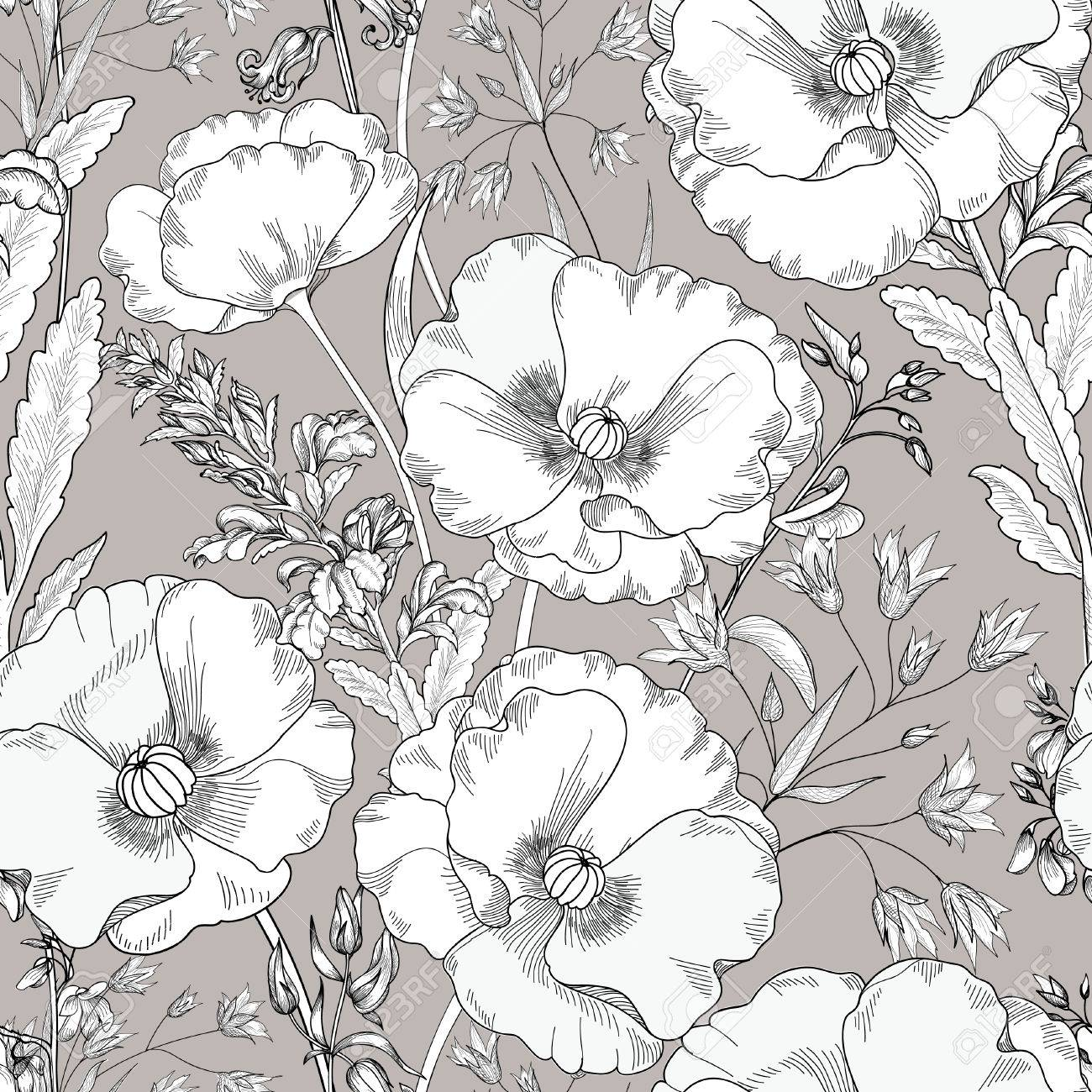 Floral seamless pattern. Flower background. Floral seamless texture with flowers. Flourish tiled wallpaper - 54853509