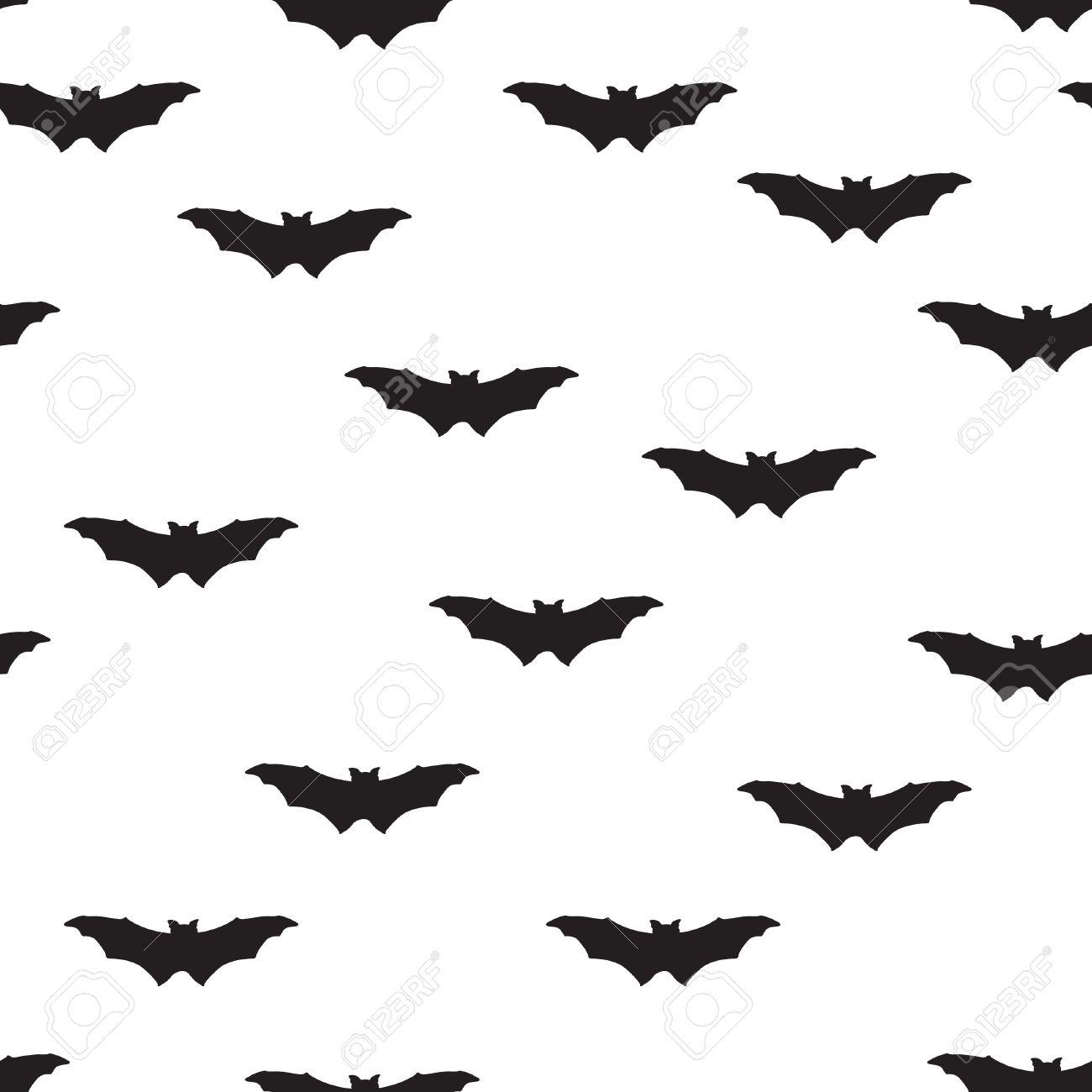 Bat silhouette seamless pattern. Holiday Halloween background. Halloween bat texture - 54857240