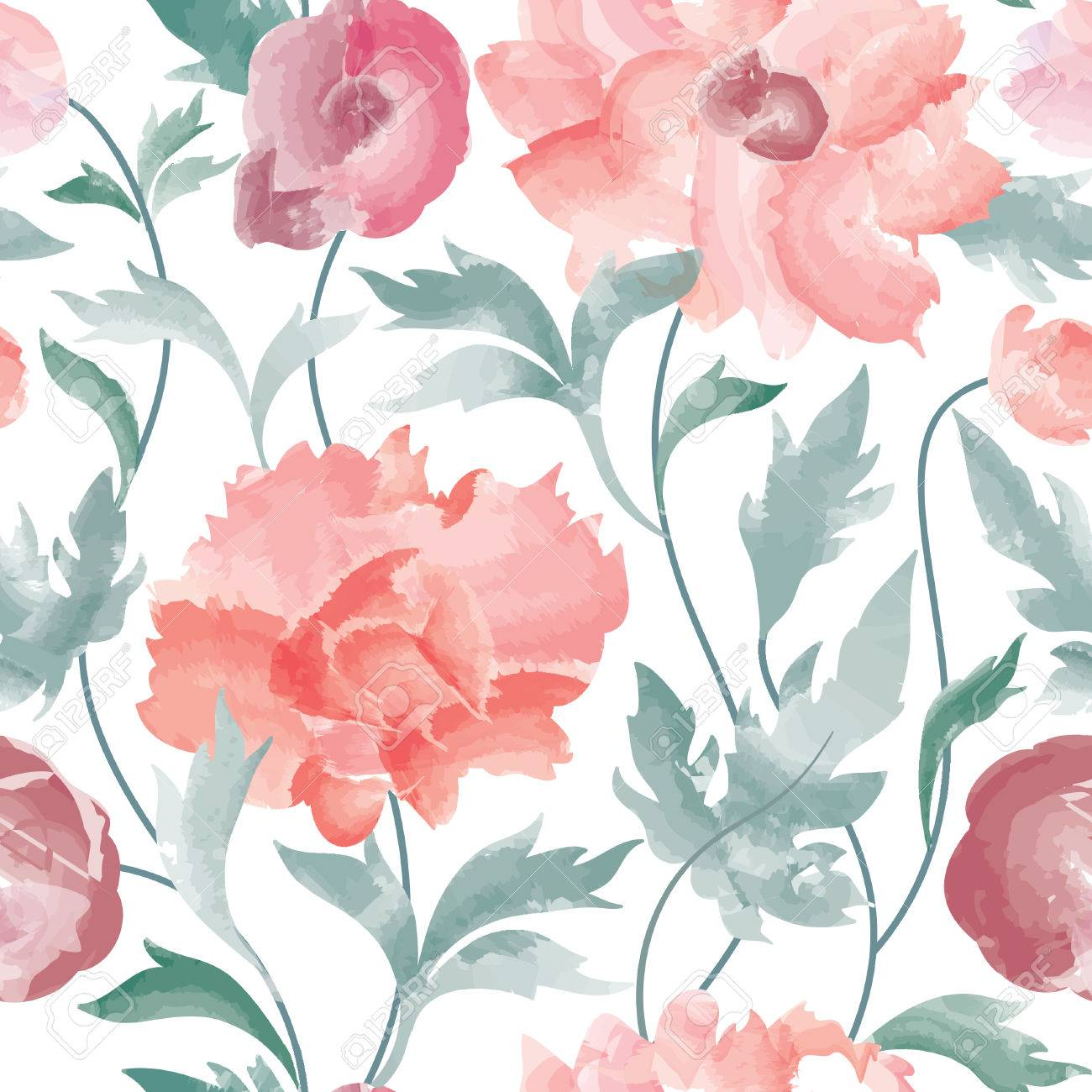 Floral seamless pattern Flower background. Floral tile ornamental texture with flowers Spring flourish garden watercolor wallpaper - 56202266