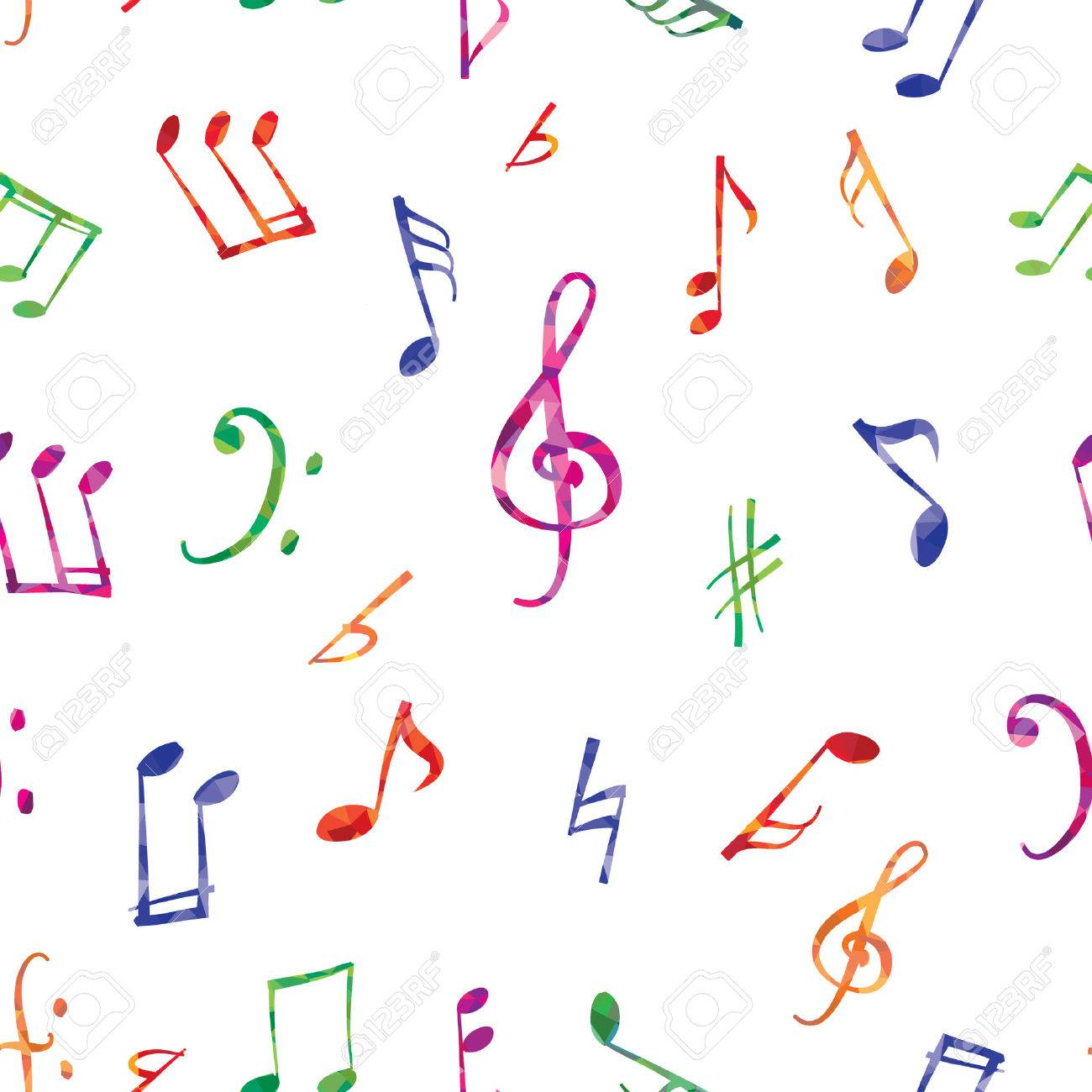 Musical pattern. Music notes and signs seamless background - 56968735
