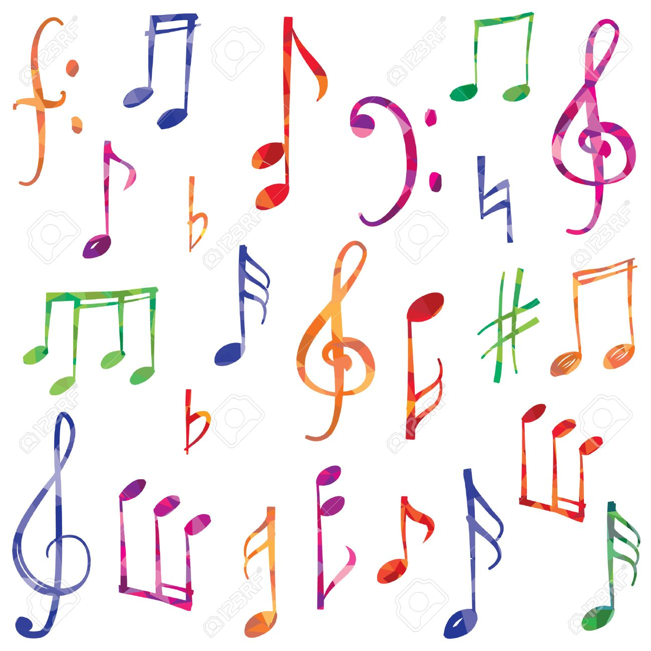 Music notes and signs set. Hand drawn music symbol sketch collection - 57712090