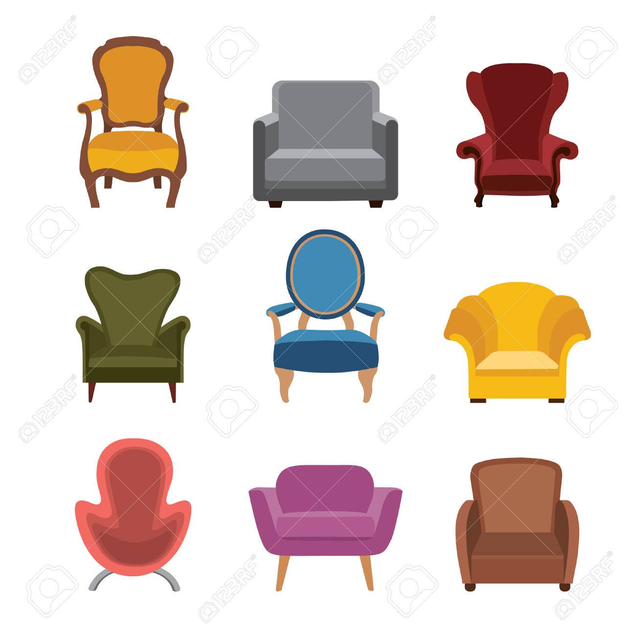 Chairs And Armchairs Icons Set. Furniture Collection Of Different ...