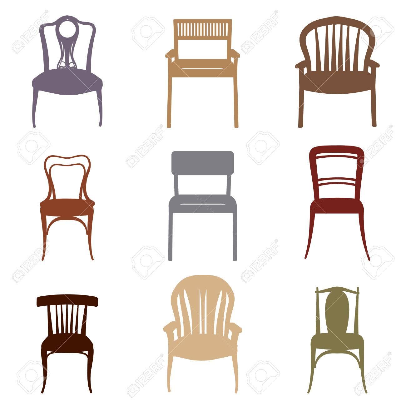 moderne moebel fuer haus, stühle und sessel silhouette set. moderne und antike möbel, Design ideen