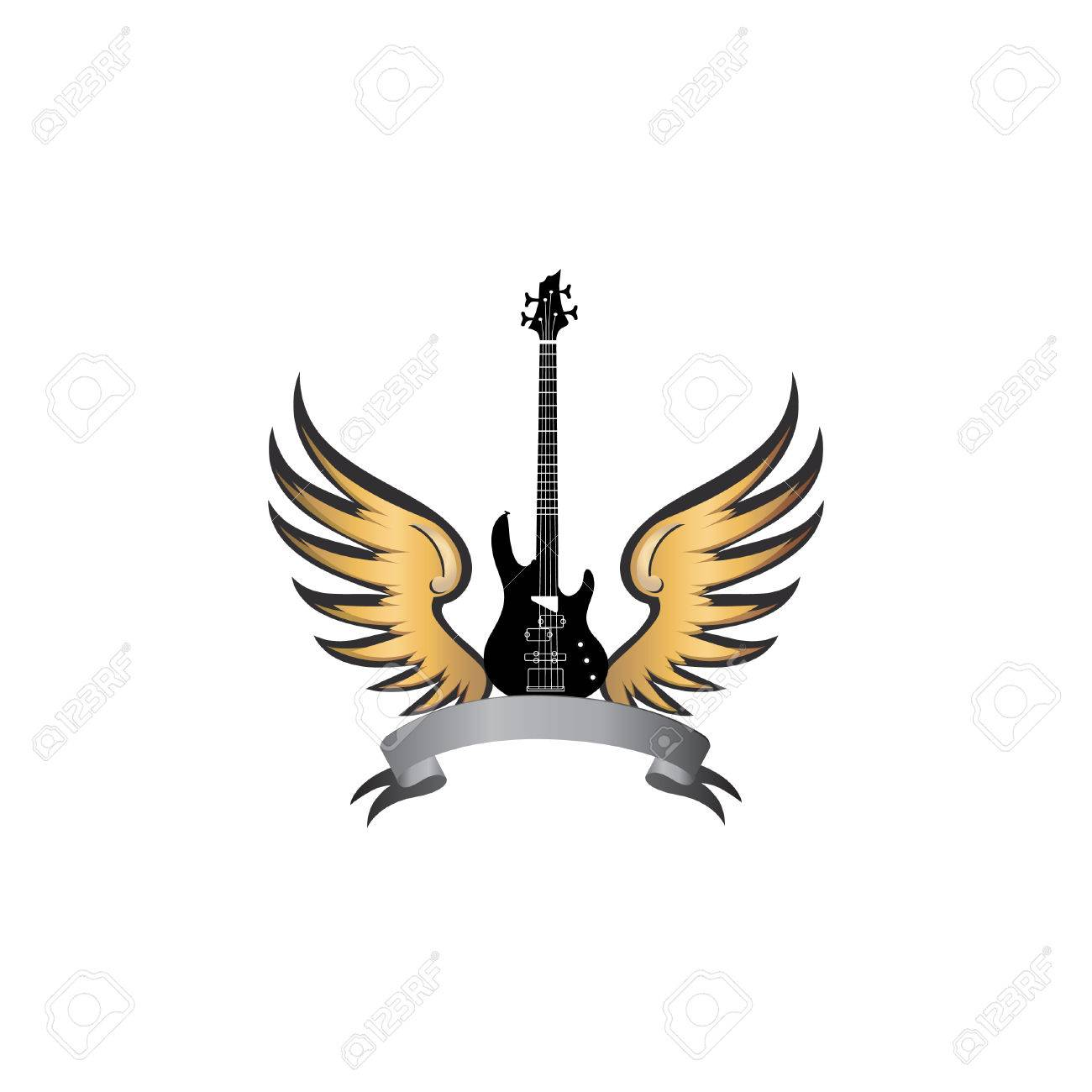 rock music symbol electric guitar with wings winged guitar rh 123rf com