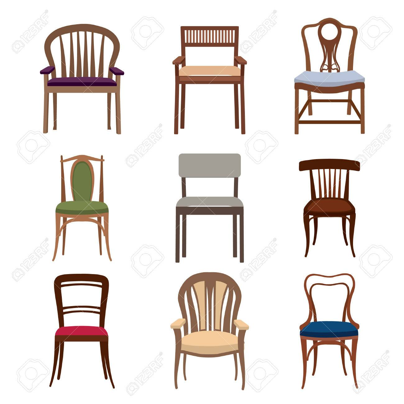 Chairs And Armchairs Icons Set. Furniture Collection Of Different Chairs In  Flat Style. Stock