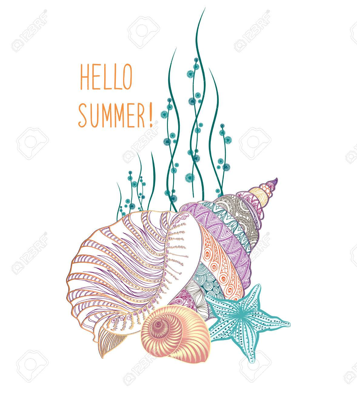 Abstract Summer Background. Summer Holidays Cover With Sea Inhabitants. Hello  Summer Greeting Card.