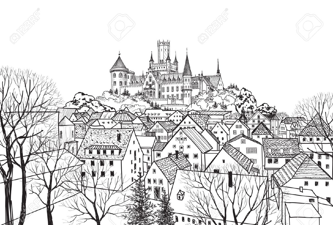 Old city view with castle on background. Medieval european castle landscape. Pencil drawn vector sketch - 58085746