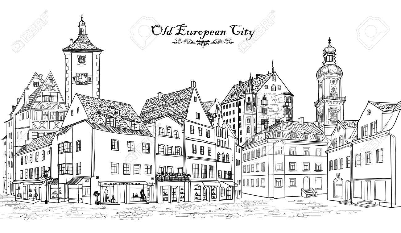 Street with old buildings and cafe in old city. Cityscape - houses, buildings and tree on alleyway. Old city view. Medieval european castle landscape. Urban landscape illustration. Pencil drawn vector sketch - 58085759