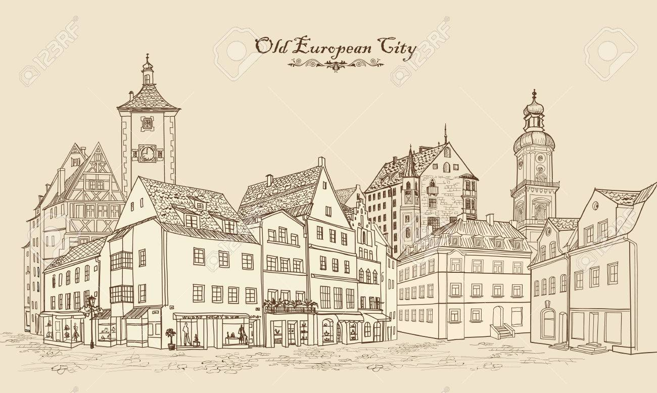 Street with old buildings and cafe in old city. Cityscape - houses, buildings and tree on alleyway. Old city view. Medieval european castle landscape. Urban landscape illustration. Pencil drawn vector sketch - 58085760