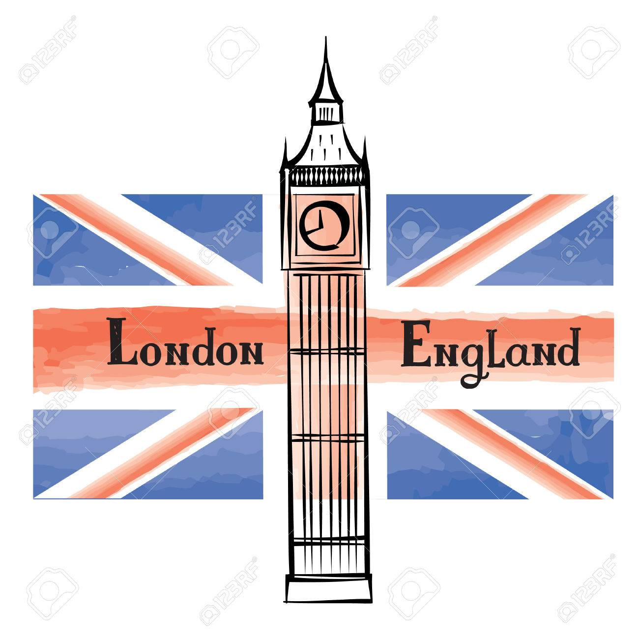 Grunge UK Flag With London Famous Westminster Abbey Tower Travel Great Britain Background Painted