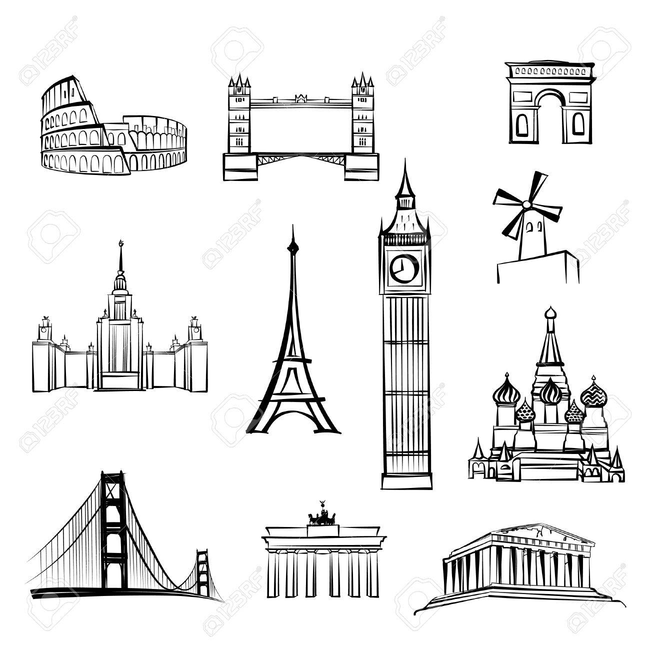 world tourist attractions symbols World famous city landmarks Travel icon set Doodle engraved sightseeings of London, Rome, Berlin, Athens, Moscow, San Francisco, Paris. - 58635351