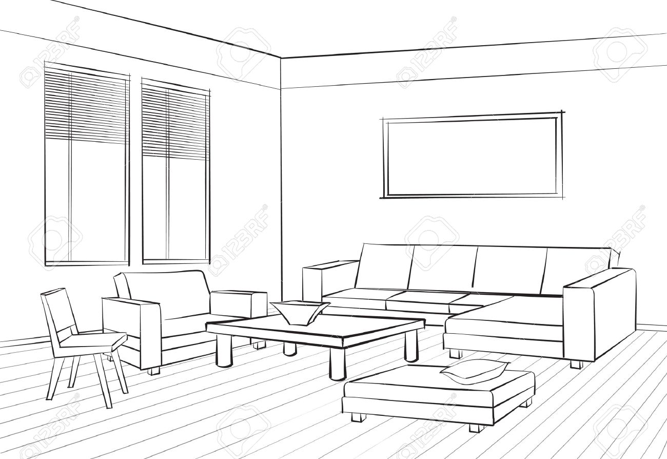 Home interior furniture with sofa, armchair, table. Living room drawing design. Engraves hand drawing vector illustration - 58635580