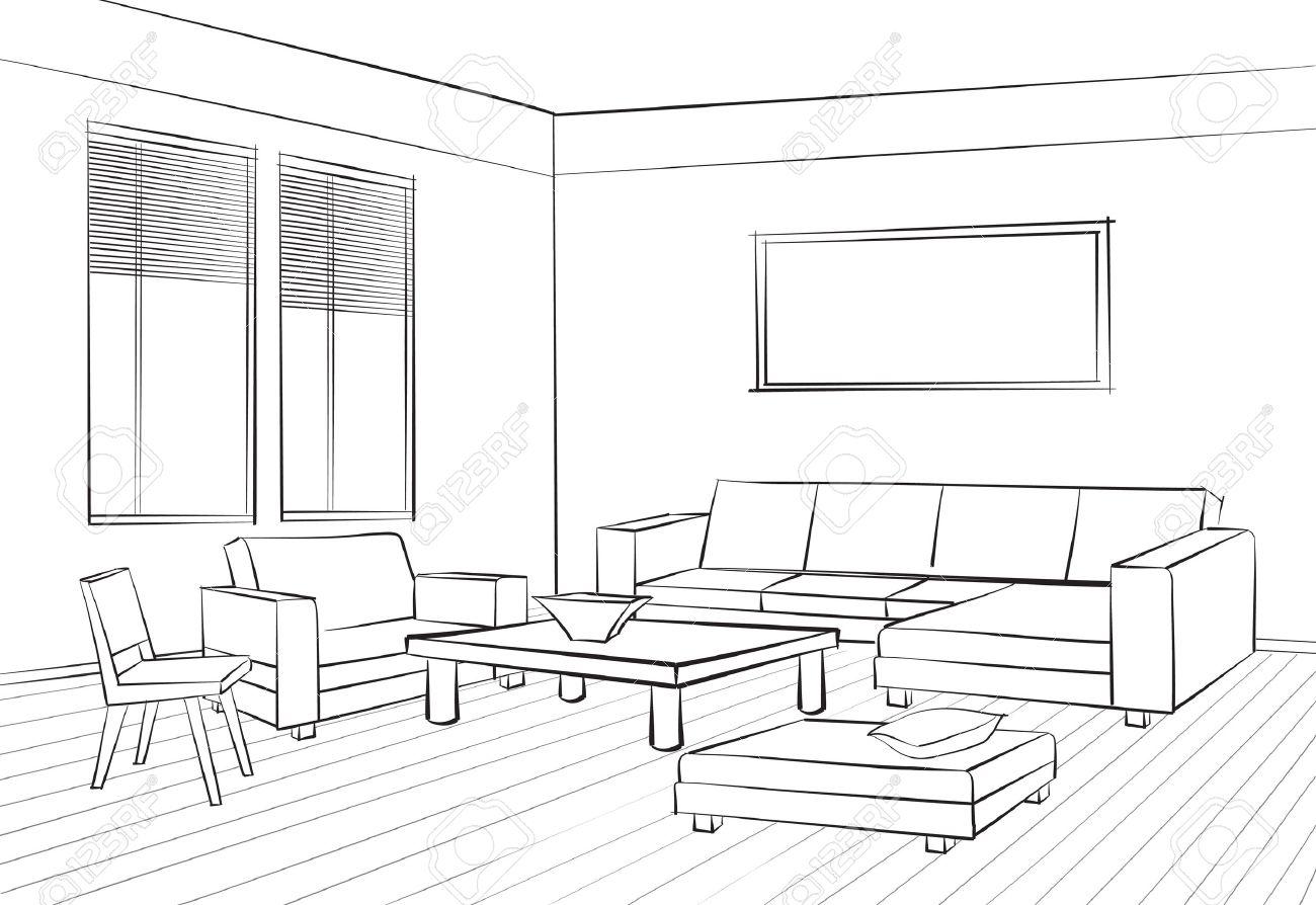 Home Interior Mobel Mit Sofa Sessel Tisch Wohnzimmer Zeichnung