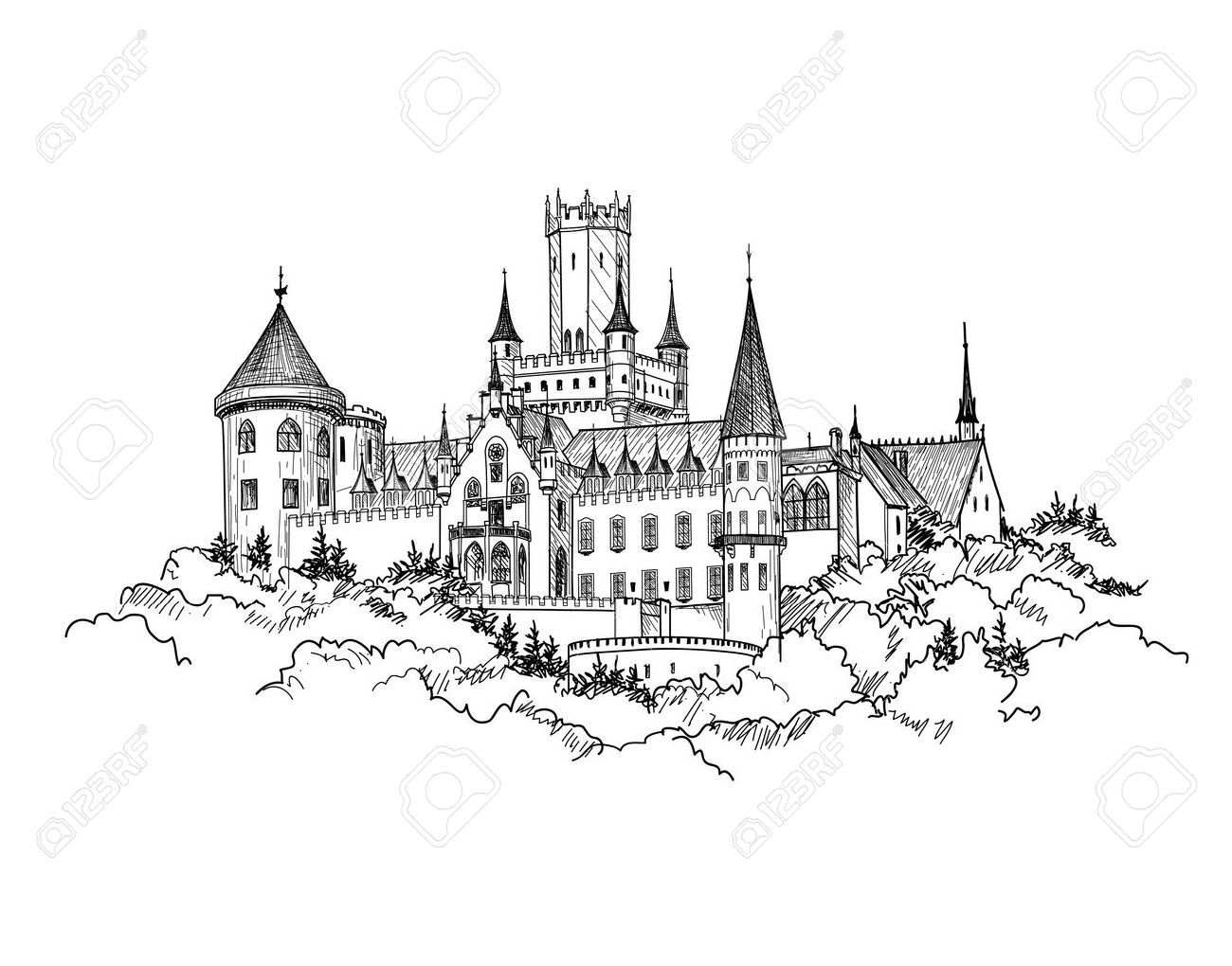 Famous Castle Marienburg, Saxony, Germany. Castle building landscape. Hand drawn sketch vector illustration. - 58635719