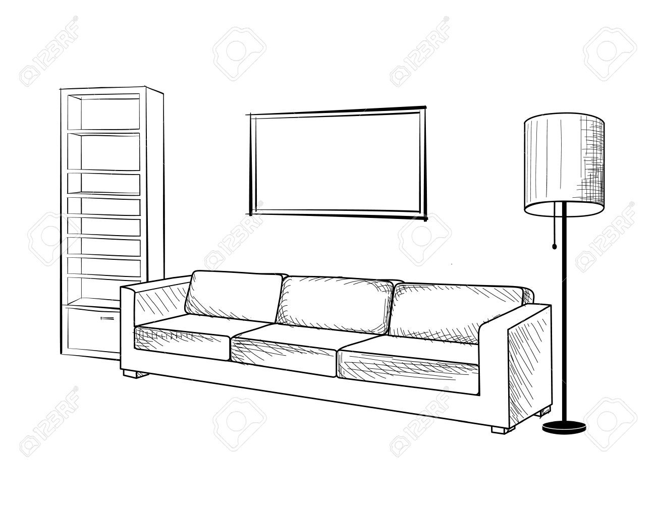 Living room clipart black and white - Interior Furniture With Sofa Floor Lamp Book Shelf Books And Drawing Living Room