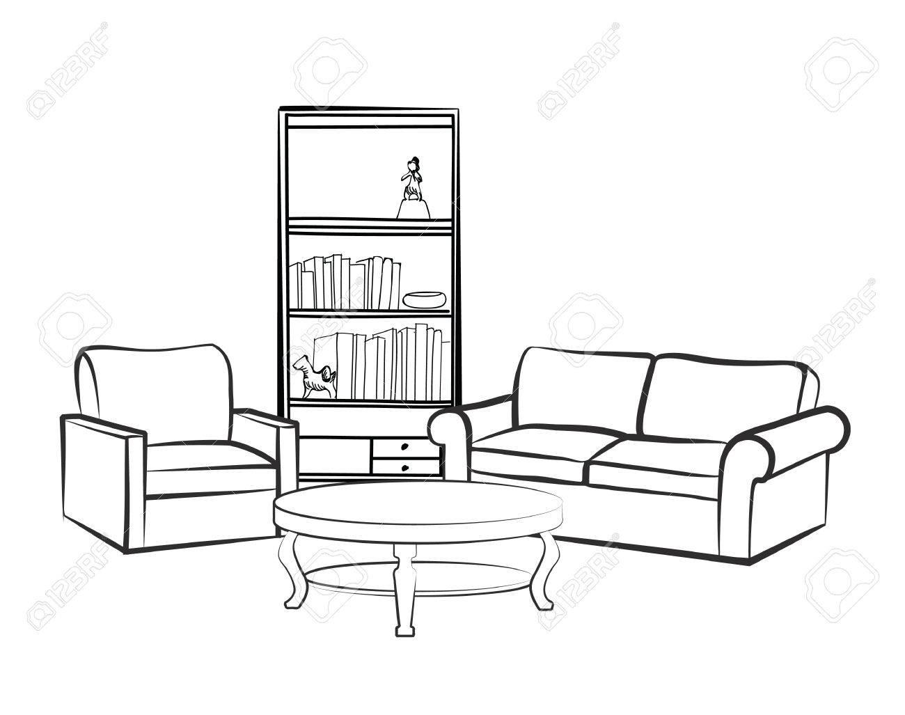 Home Interior Mobel Mit Sofa Sessel Tisch Bucherregal Und Booksl