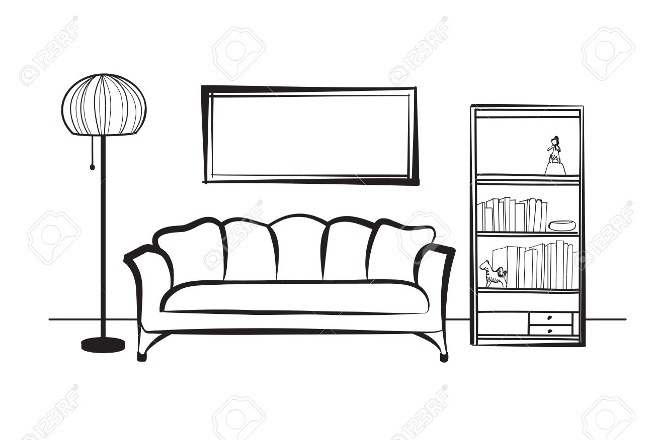 Interior furniture with sofa, floor lamp, book shelf, books and picture on the wall. Living room hnd drawing design. - 58636073