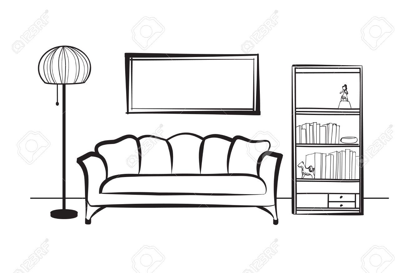 HND el de con y cuadro de Muebles sofálámpara de en dibujo de pieestante libroslos Inter la paredLiving libros sala diseño XZiuwPOkTl