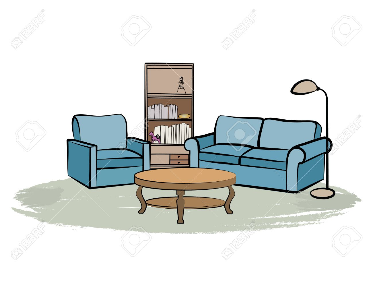 Living room drawing design - Home Interior Furniture With Sofa Armchair Table Book Shelf And Books Living