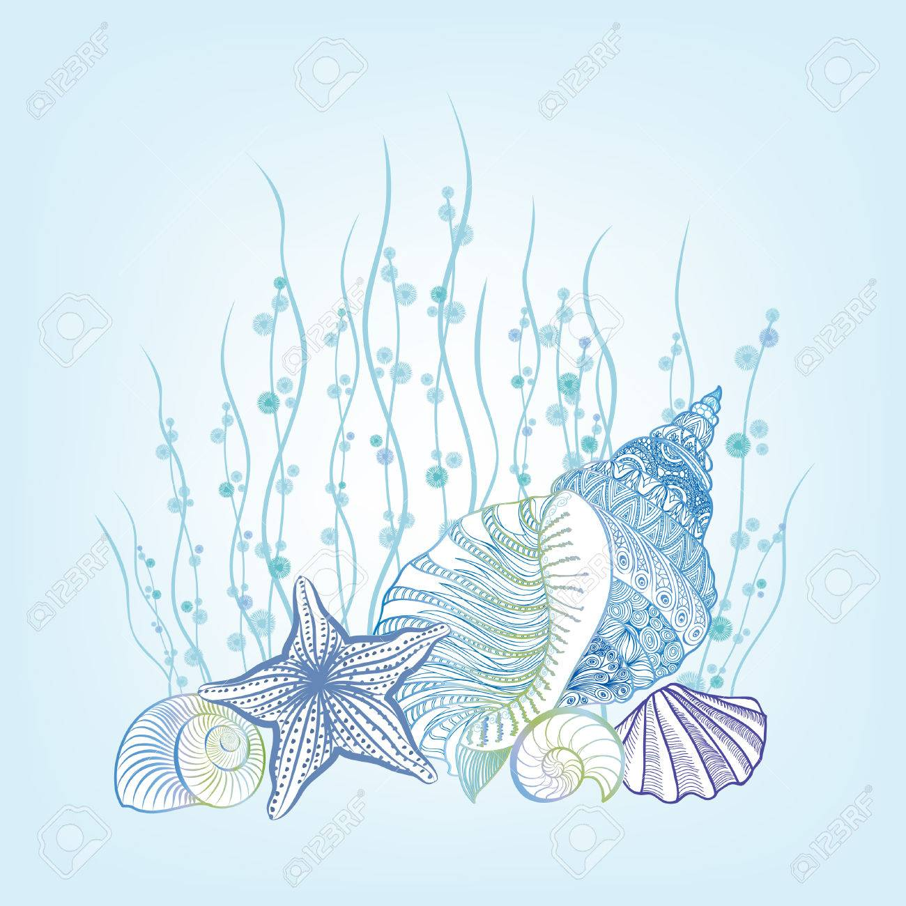 SeaShell background Summer Holiday Concept. Vector Background with Seashells, Sea Star and Sand. Hand Drawn Etching Style Underwater Marine life stillife - 59225292