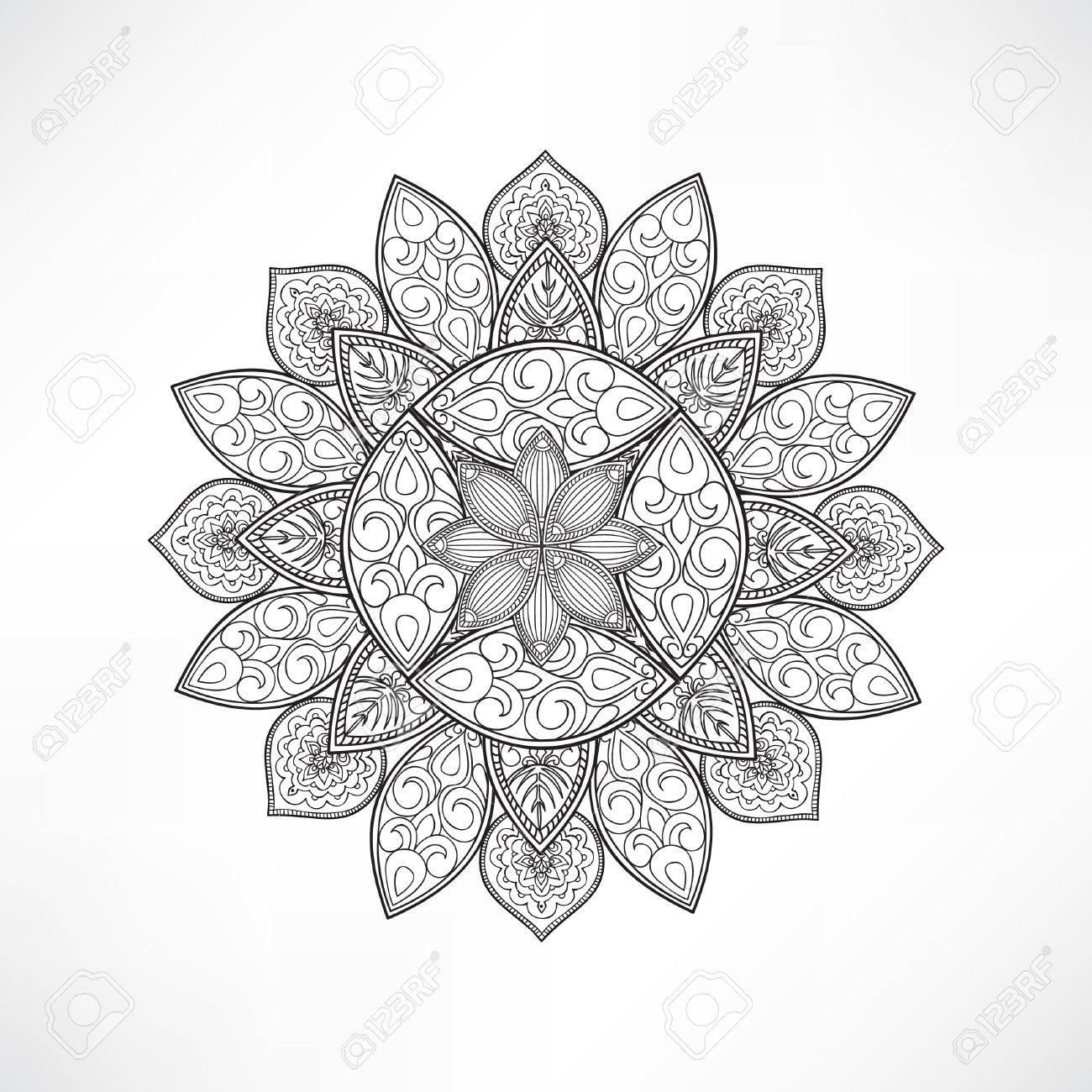 Mandala De La Flor Geométrica Para Colorear. Colorear Mandala Vector ...