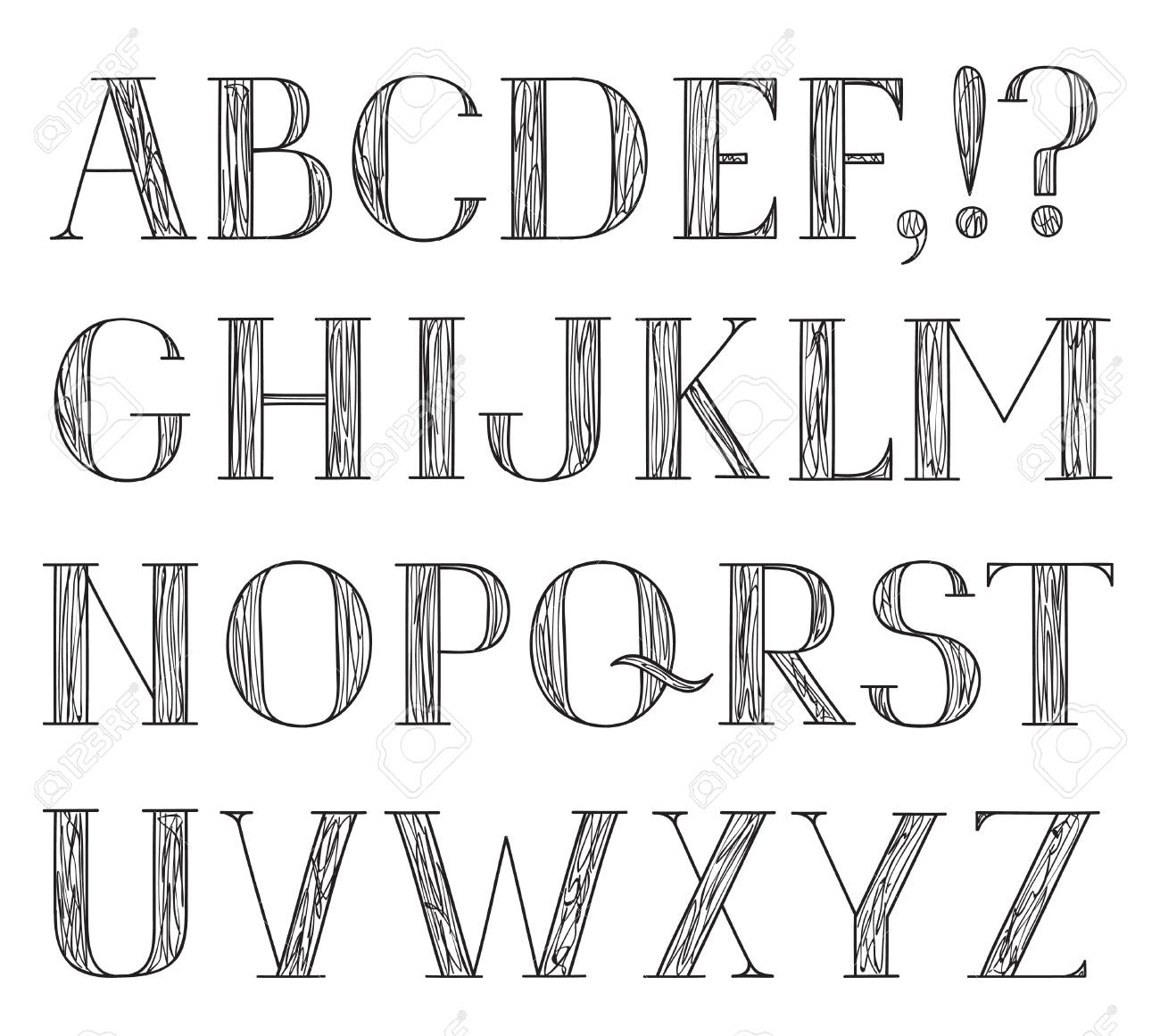 Alphabet Grunge Line Pencil Drawing Decorative Font Hipsters