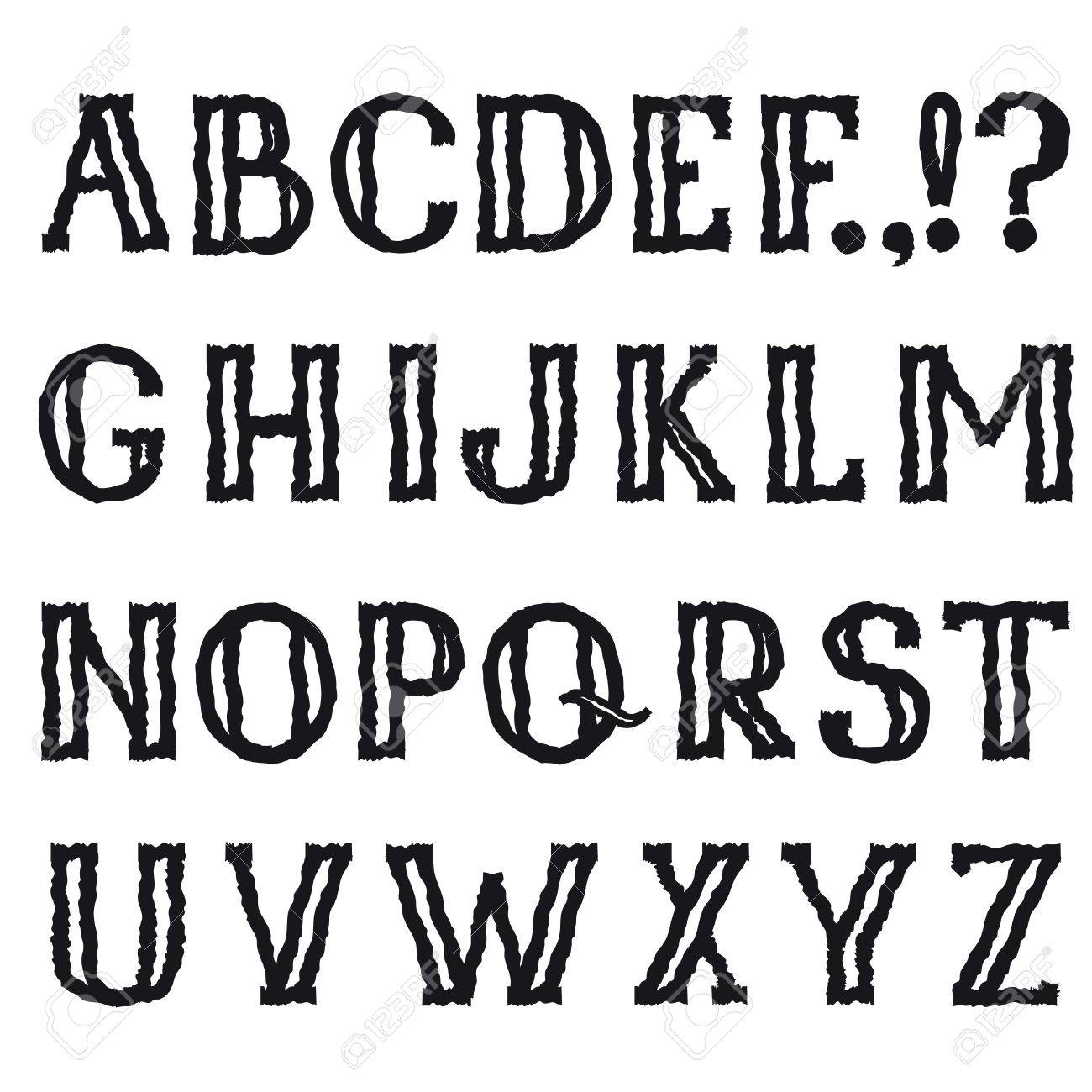 Grunge Shakily Line Marker Drawing Decorative Font Hipsters Doodle Ragged Latin Letter Characters