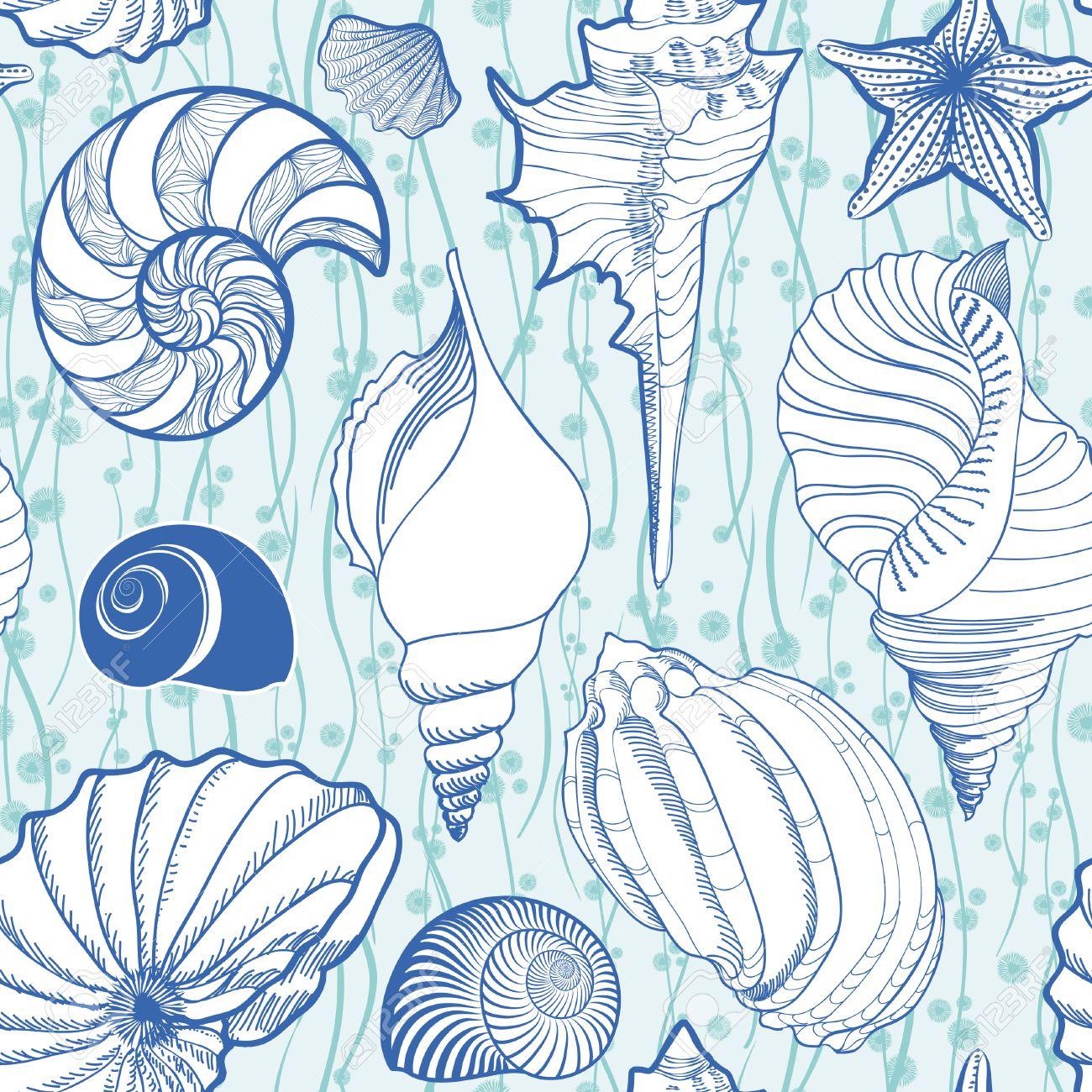 貝殻のシームレスなパターン 夏の休日の海洋背景 水中観賞用テクスチャ 海の貝 海の星砂とスケッチの壁紙です のイラスト素材 ベクタ Image 5967