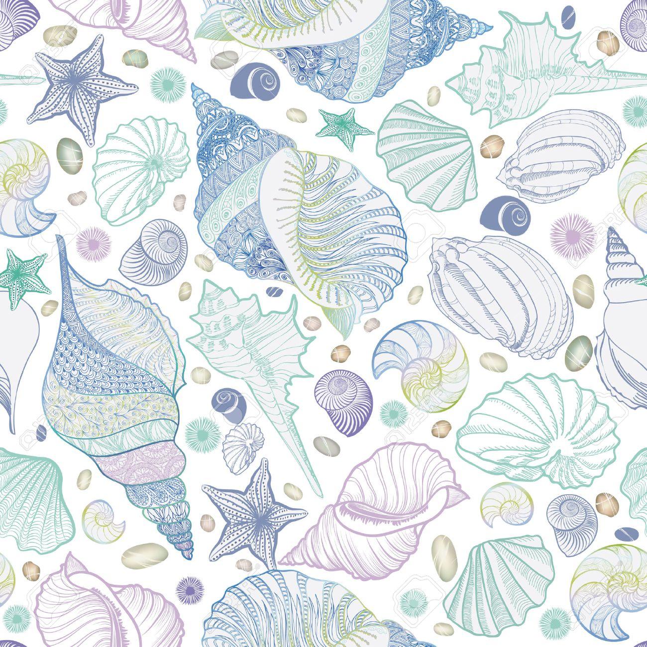 貝殻のシームレスなパターン 夏の休日の海洋背景 水中観賞用テクスチャ 海の貝 海の星砂とスケッチの壁紙です のイラスト素材 ベクタ Image