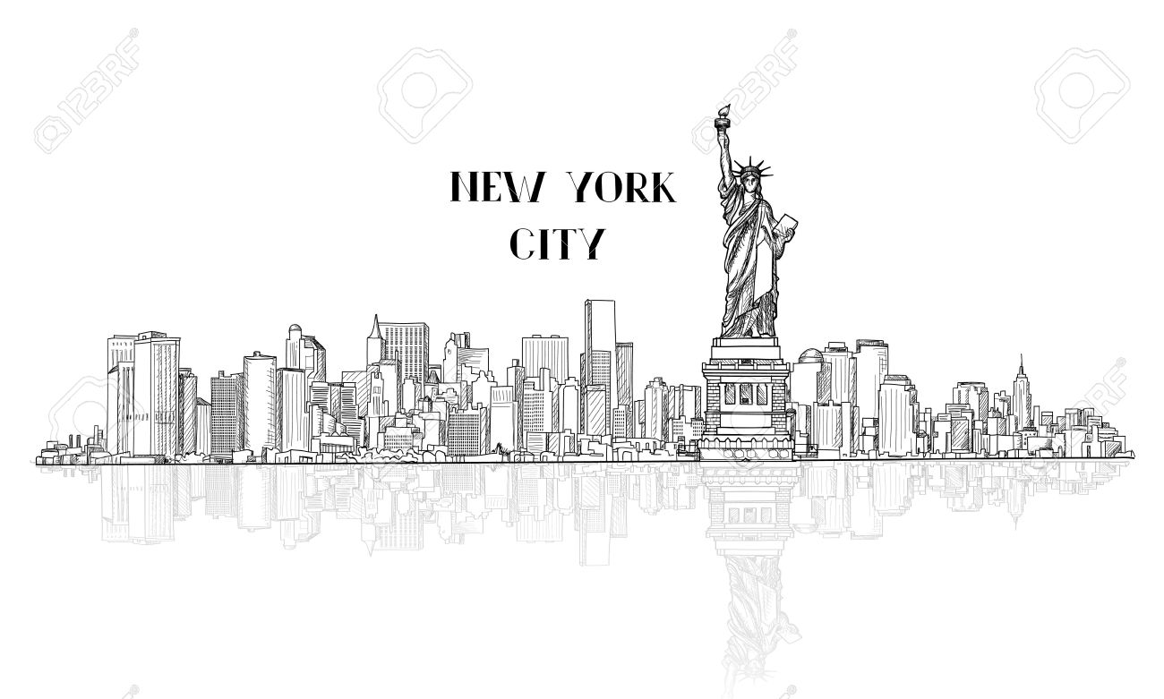 New York, USA skyline sketch. NYC city silhouette with Liberty monument. American landmarks. Urban  architectural landscape. Cityscape with famous buildings Stock Vector - 60421457