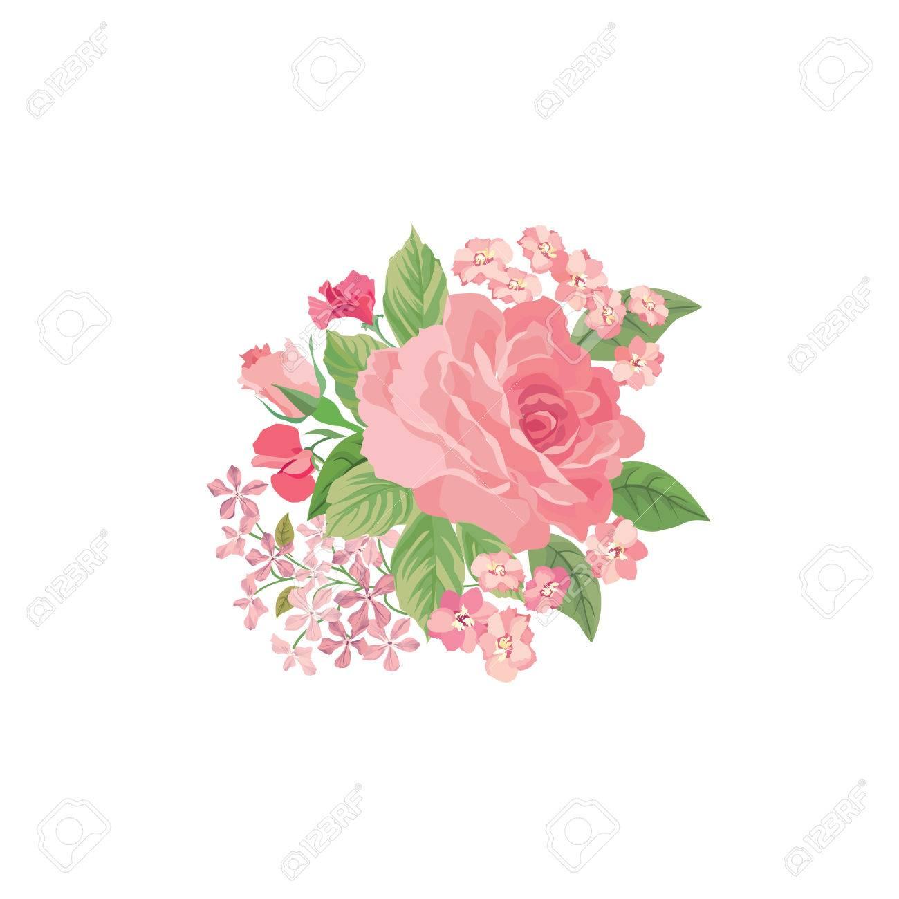 Bouquet Floral Isole Sur Fond Blanc Fleur D Ete Rose Posy Carte De