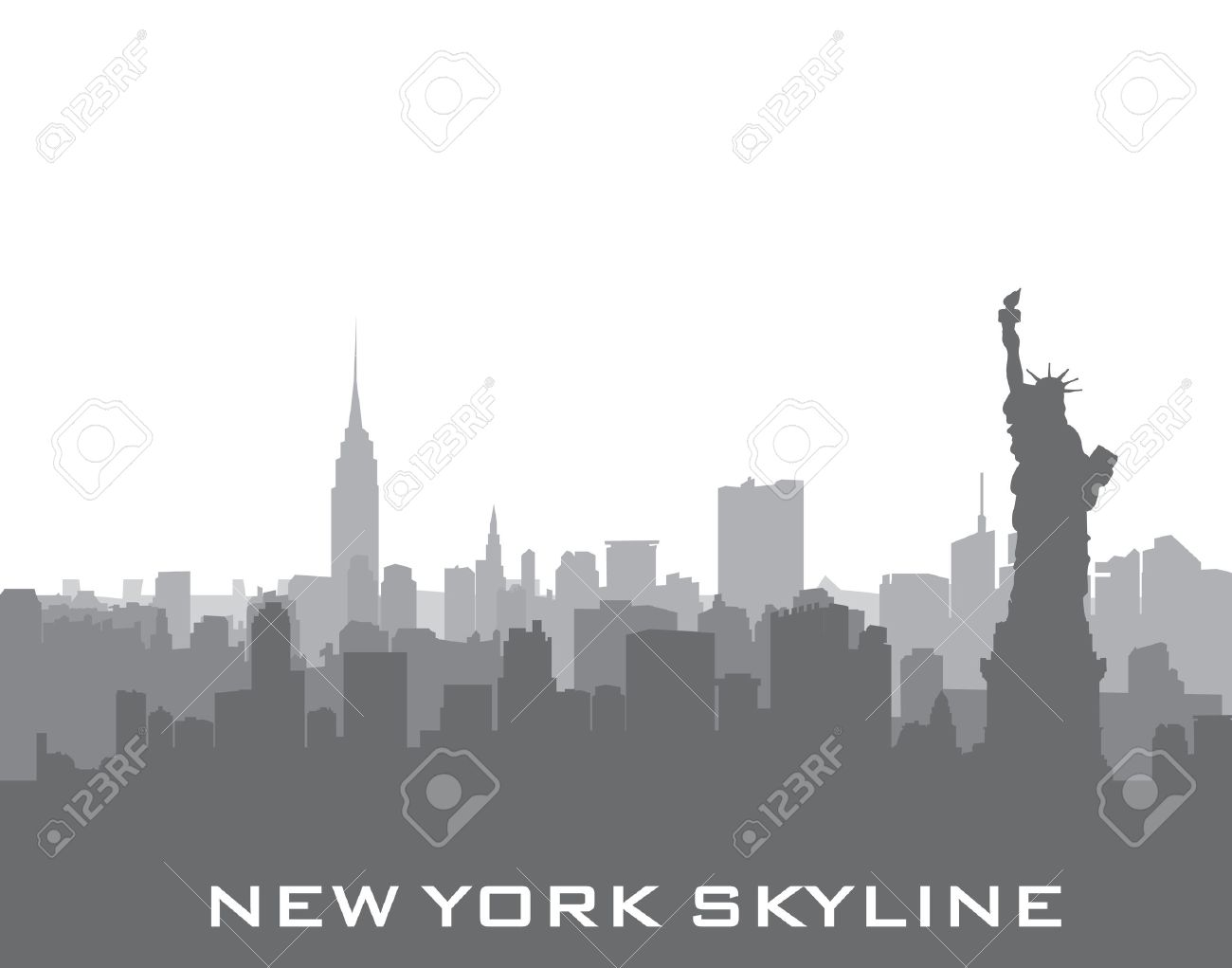 New York, USA skyline background. City silhouette with Liberty monument. American landmarks. Urban architectural landscape. Cityscape with famous buildings - 60421467
