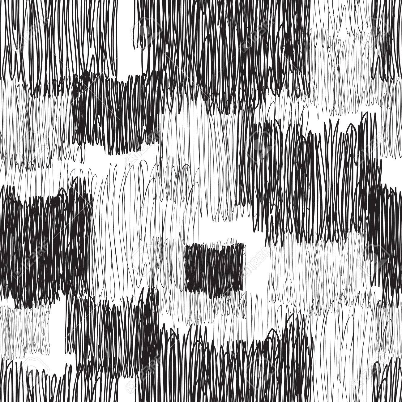 Abstract geometric seamless pattern black and white pencil drawing line texture stylish abstract ornamental stripped