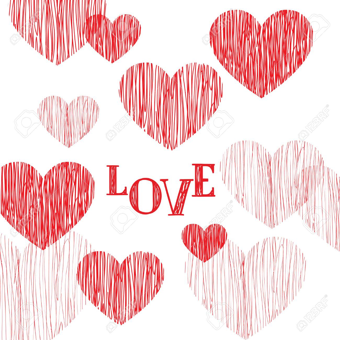 Love Pattern Happy Valentines Day Card Love Heart Pencil Sketch
