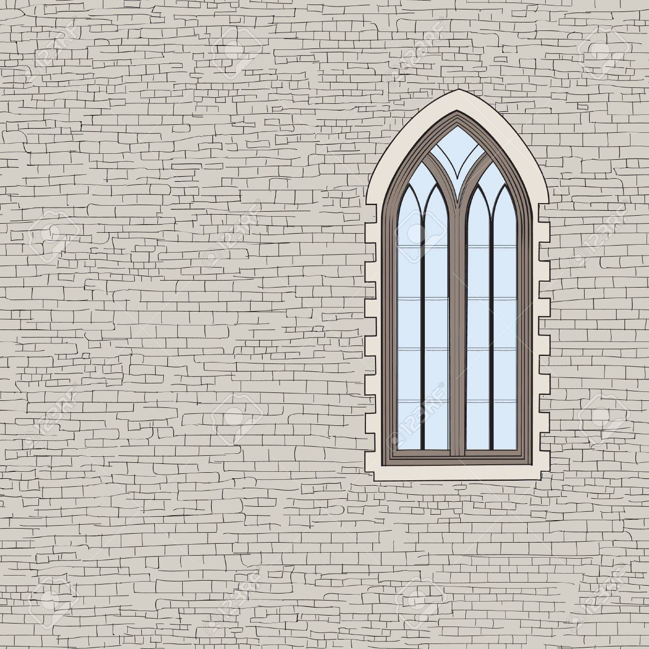 Ancient Brick Wall Background With Gothic Window Shabby Sketch Pattern Architectural Building Facade