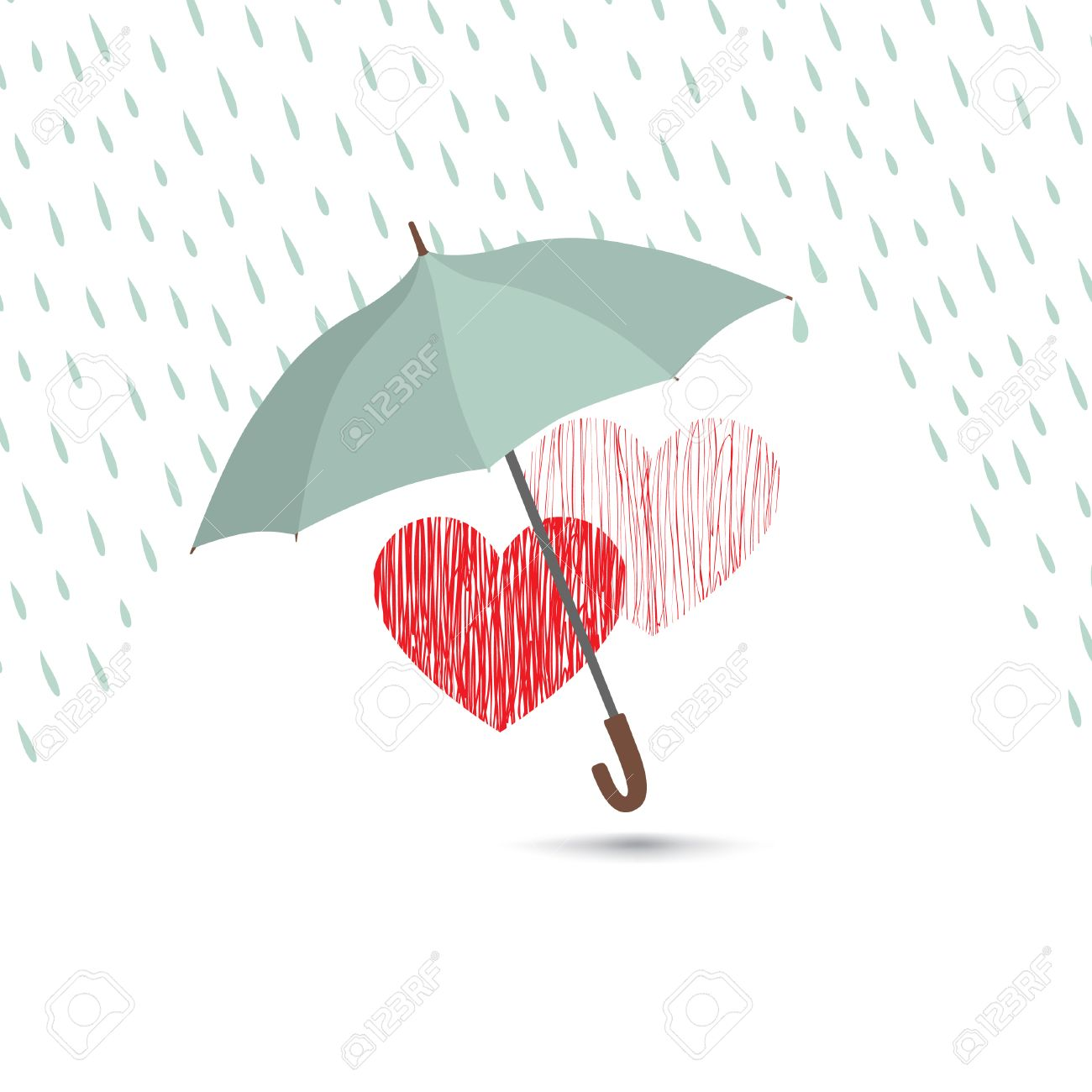 Love heart sign over rain under umbrella protection. Two hearts in love icon isolated over white background. Valentine's day greeting card design - 60824795