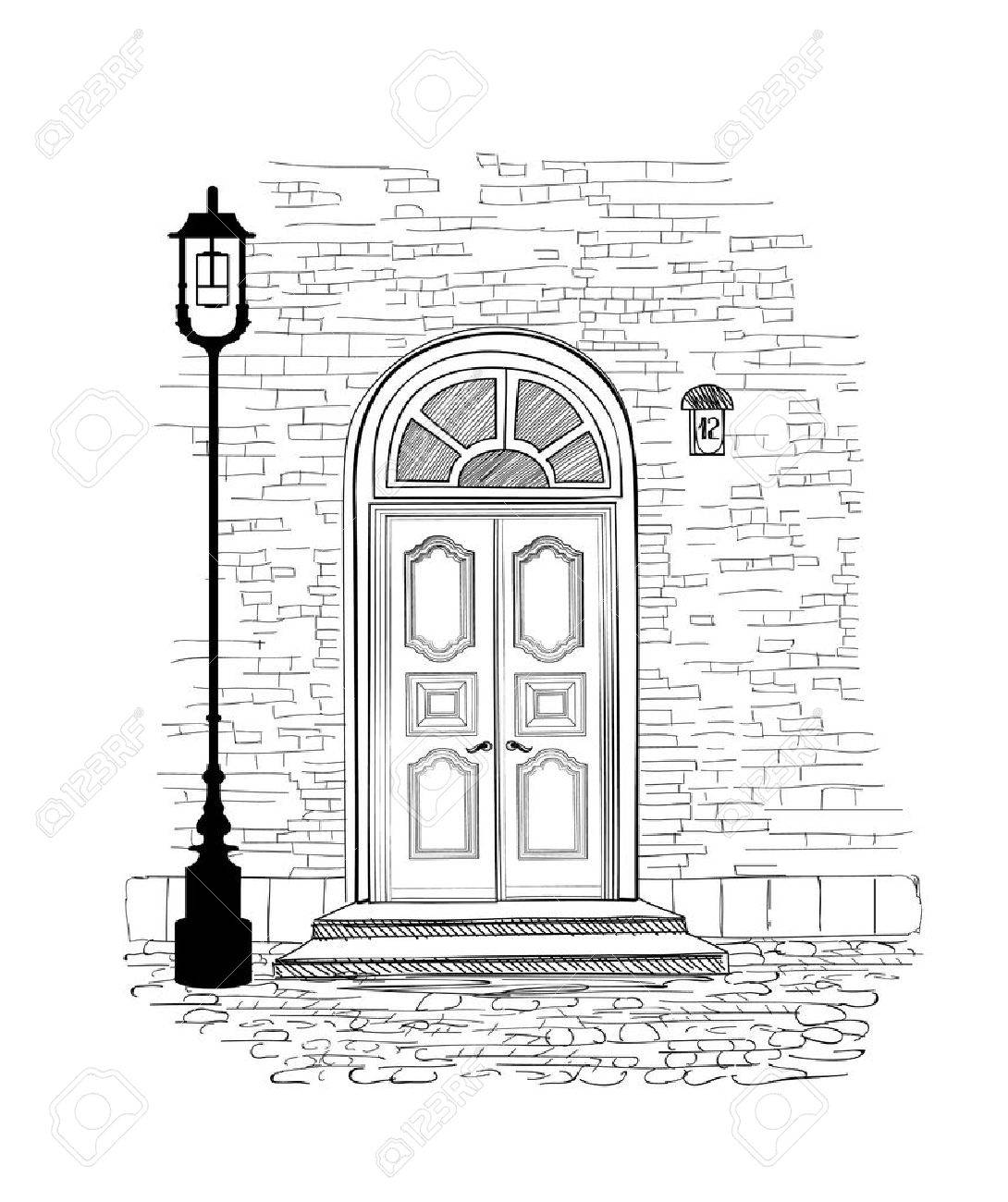 Old doors in vintage style over white background. House entrance hand drawing illustration. Doodle cosy street alleyway wallpaper design - 60824805