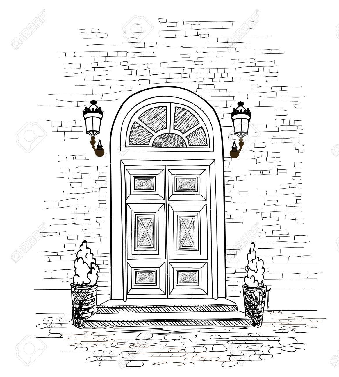 Door background. House door entrance hand drawing illustration - 60824816